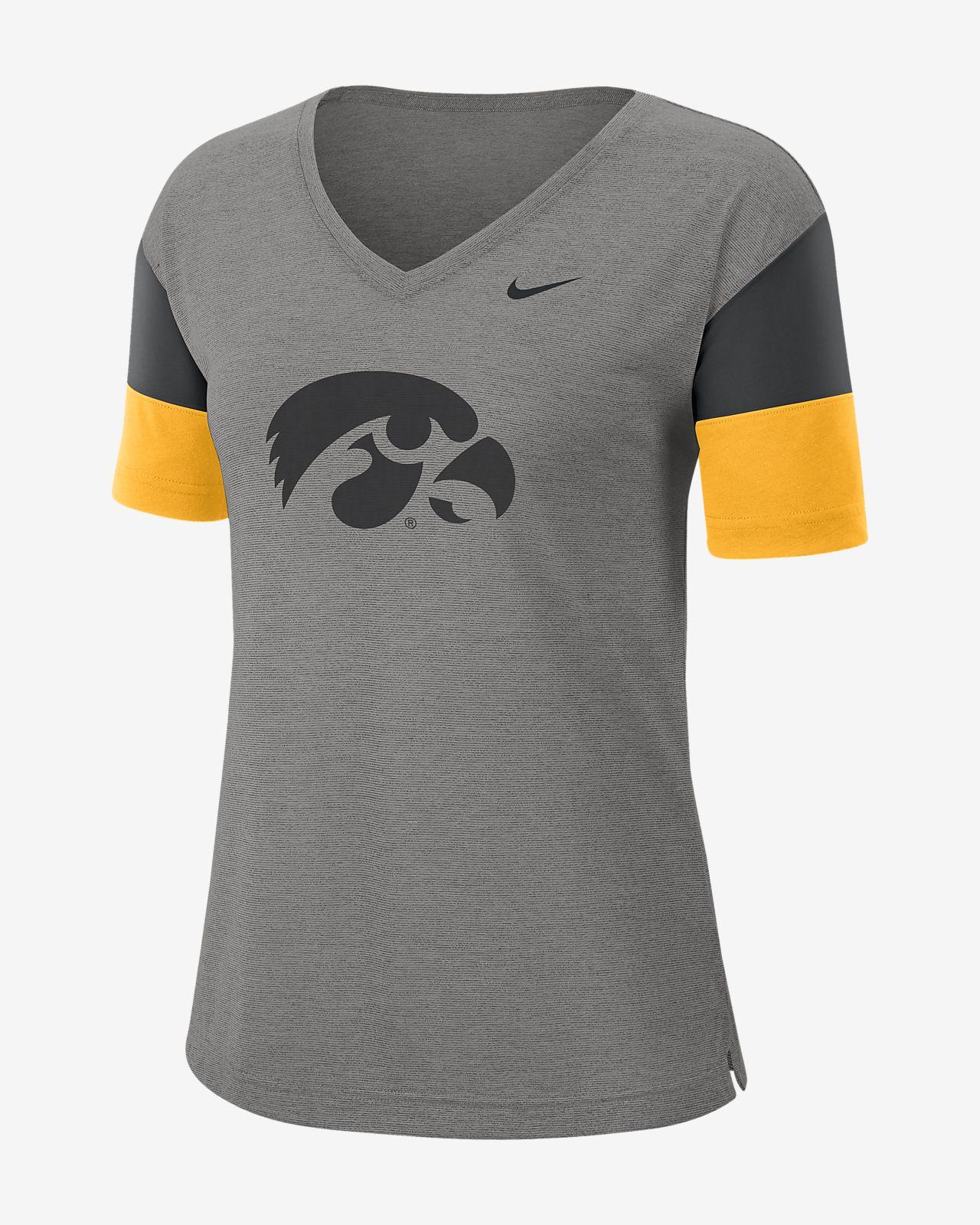 Nike College Breathe (Iowa) Women's Short-Sleeve V-Neck Top