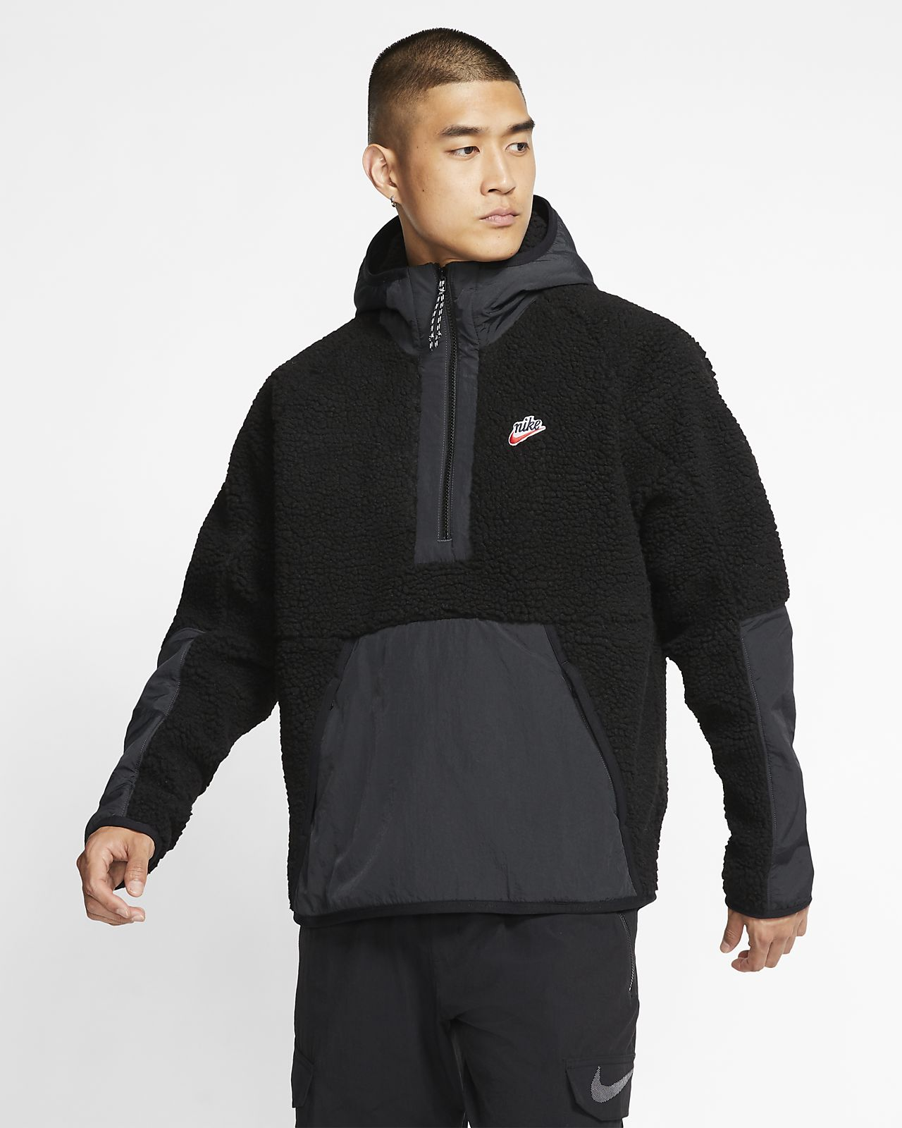 Μπλούζα από ύφασμα Sherpa με κουκούλα και φερμουάρ στο μισό μήκος Nike Sportswear