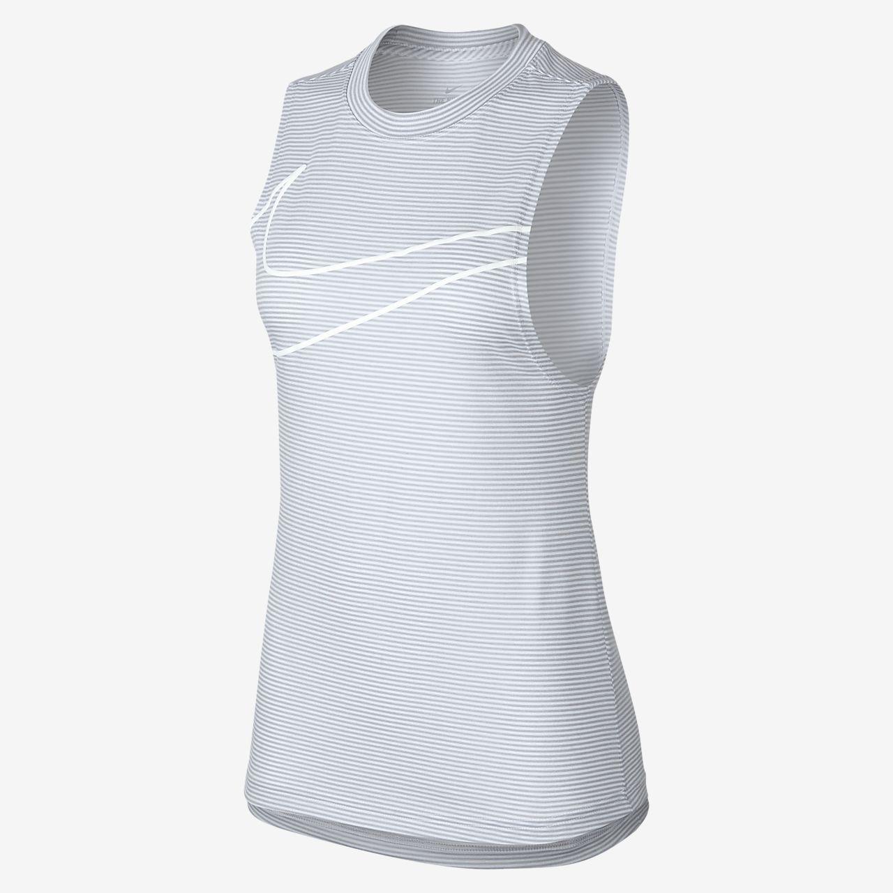 เสื้อกล้ามเทรนนิ่งลายทางผู้หญิง Nike Dri-FIT