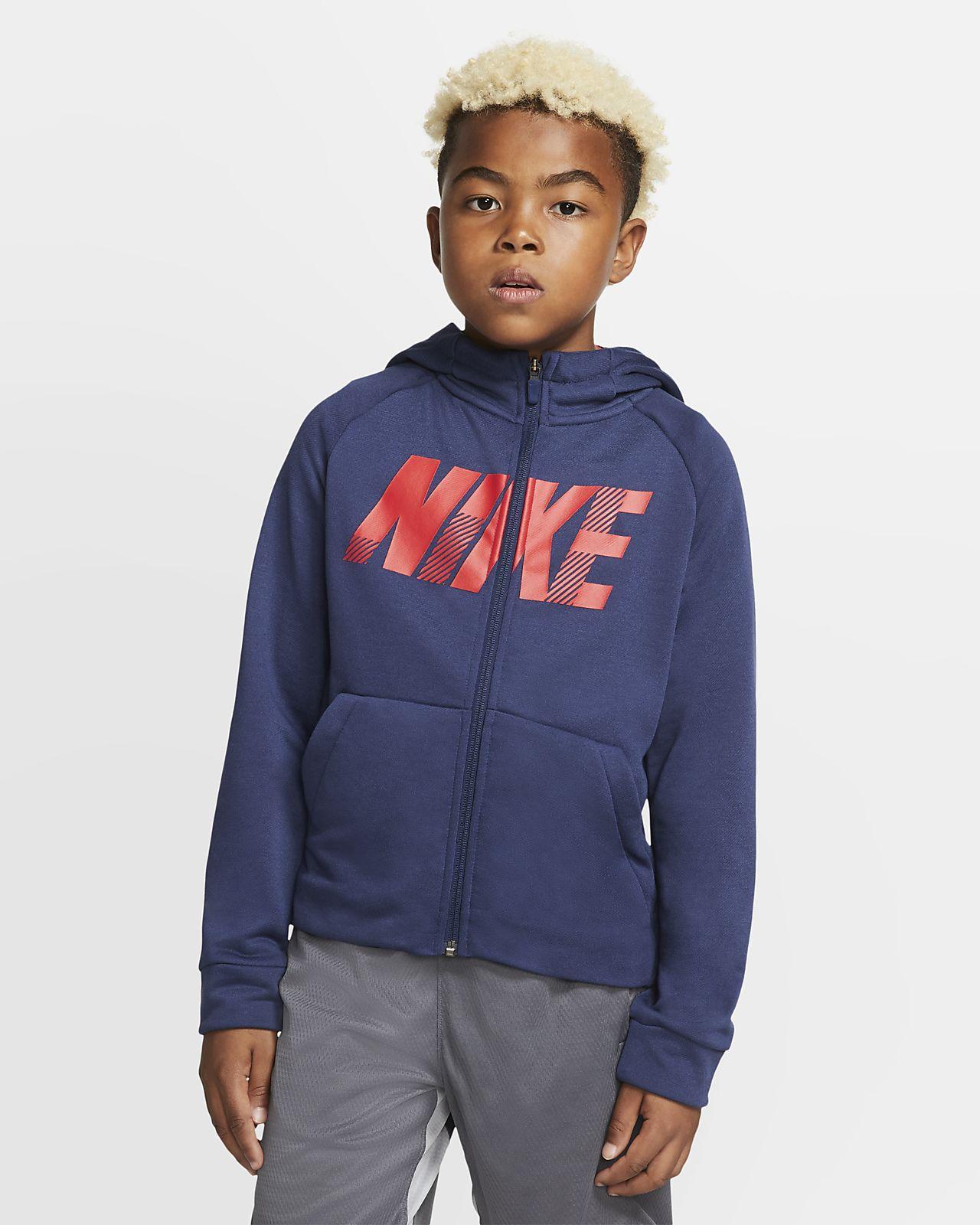Nike Dri-FIT-træningshættetrøje med grafik og lynlås i fuld længde til store børn