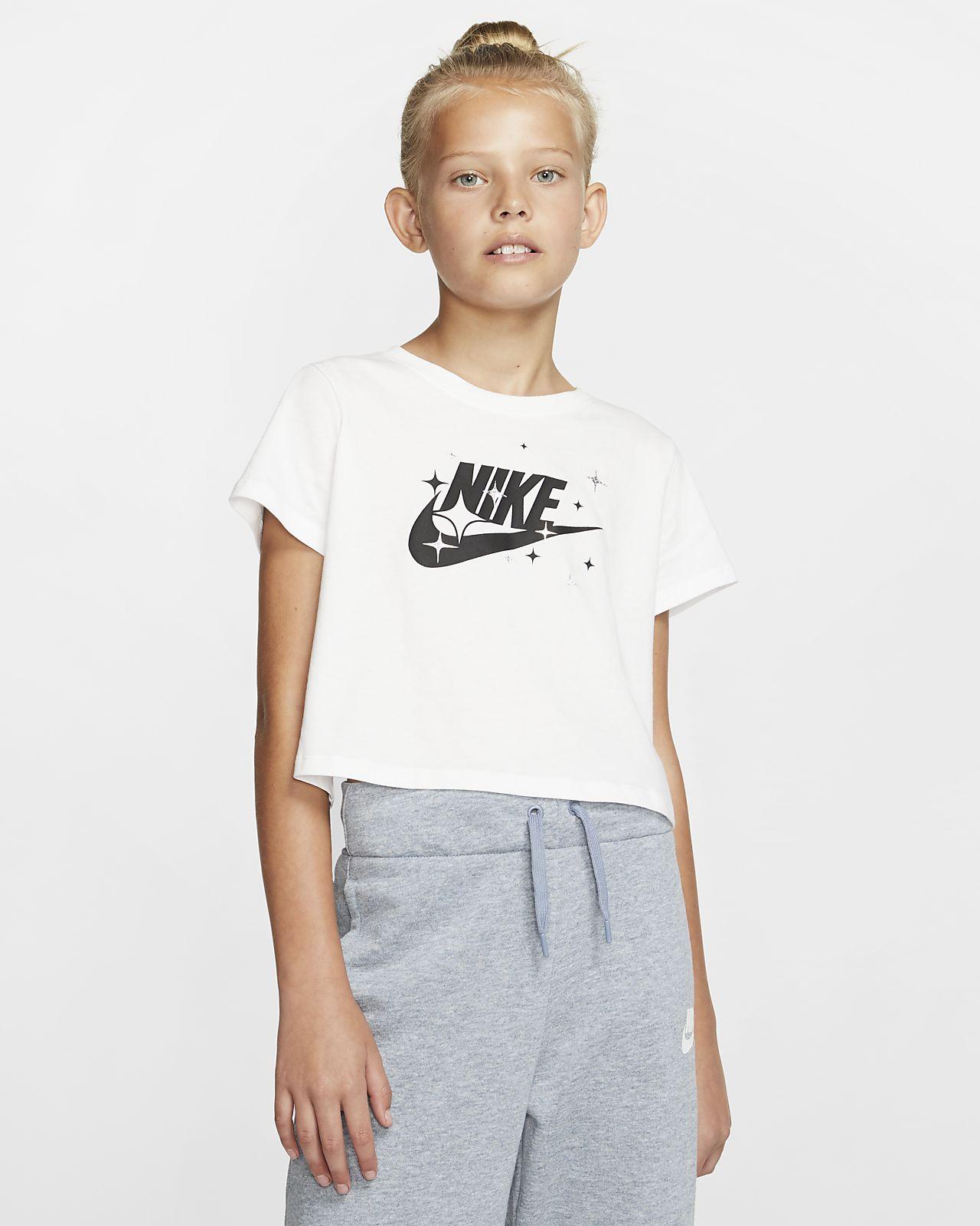 Playera recortada para niña talla grande Nike Sportswear