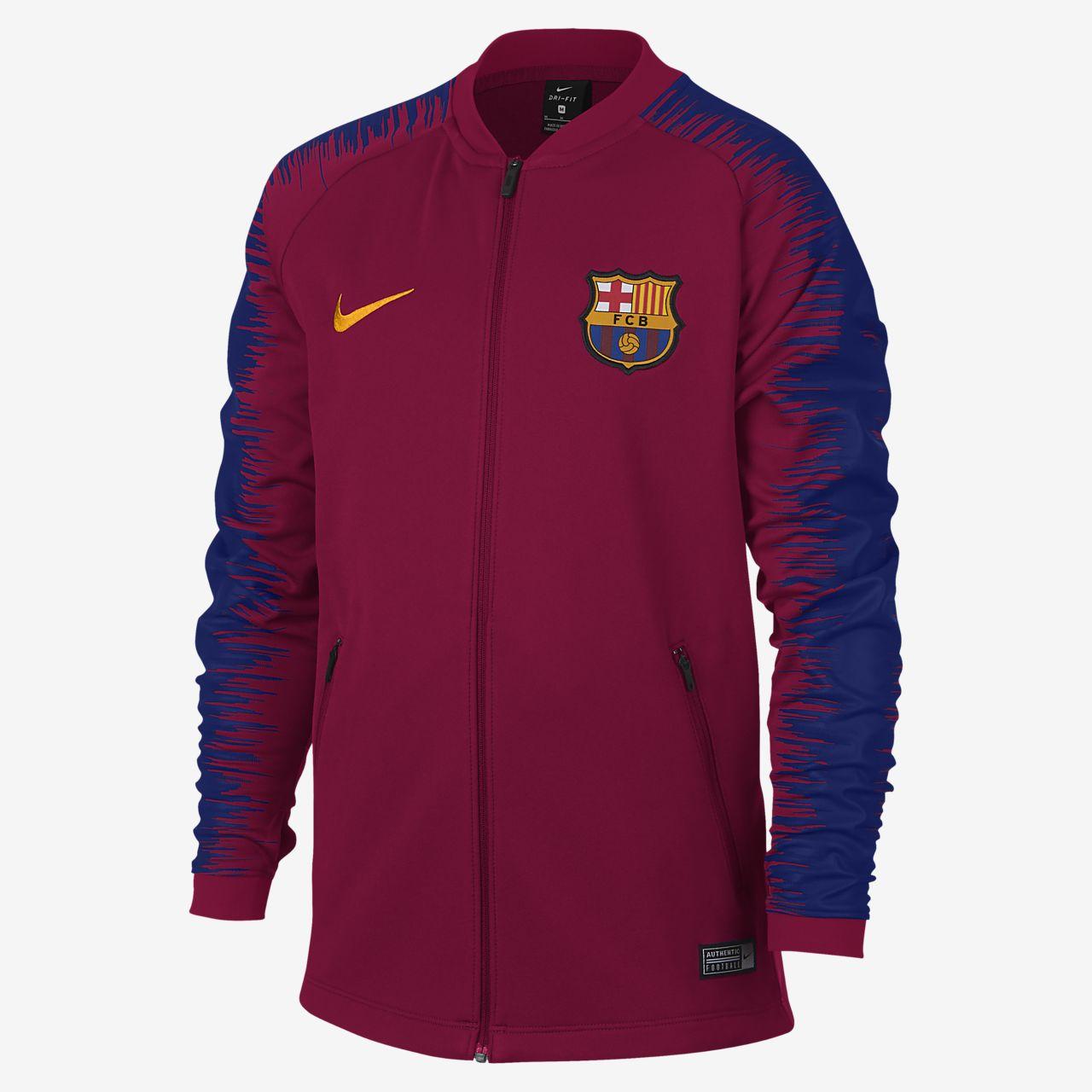 b773560e5 Chamarra de fútbol para niños talla grande FC Barcelona Anthem. Nike ...