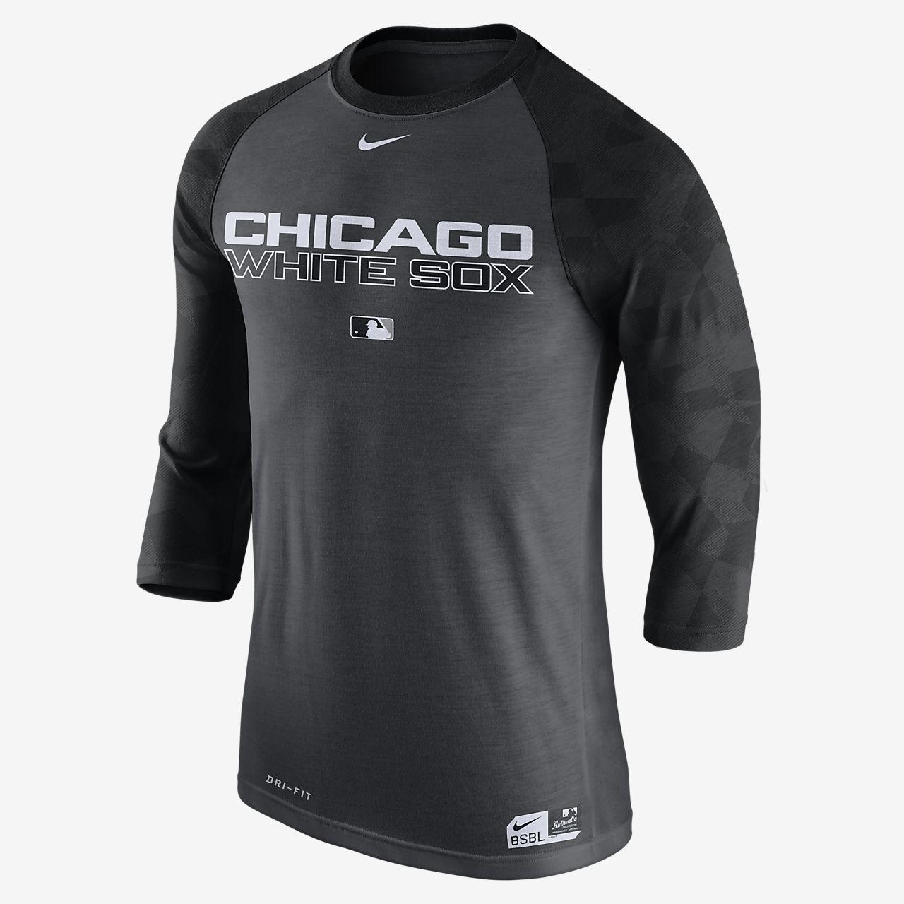 Nike Legend Raglan (MLB White Sox) Men's 3/4 Sleeve Top Charcoal Heather