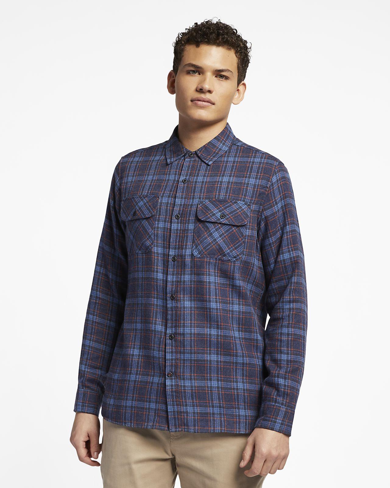 Camisa de flanela de manga comprida Hurley Walker para homem. Nike ... 9c0ce93917937