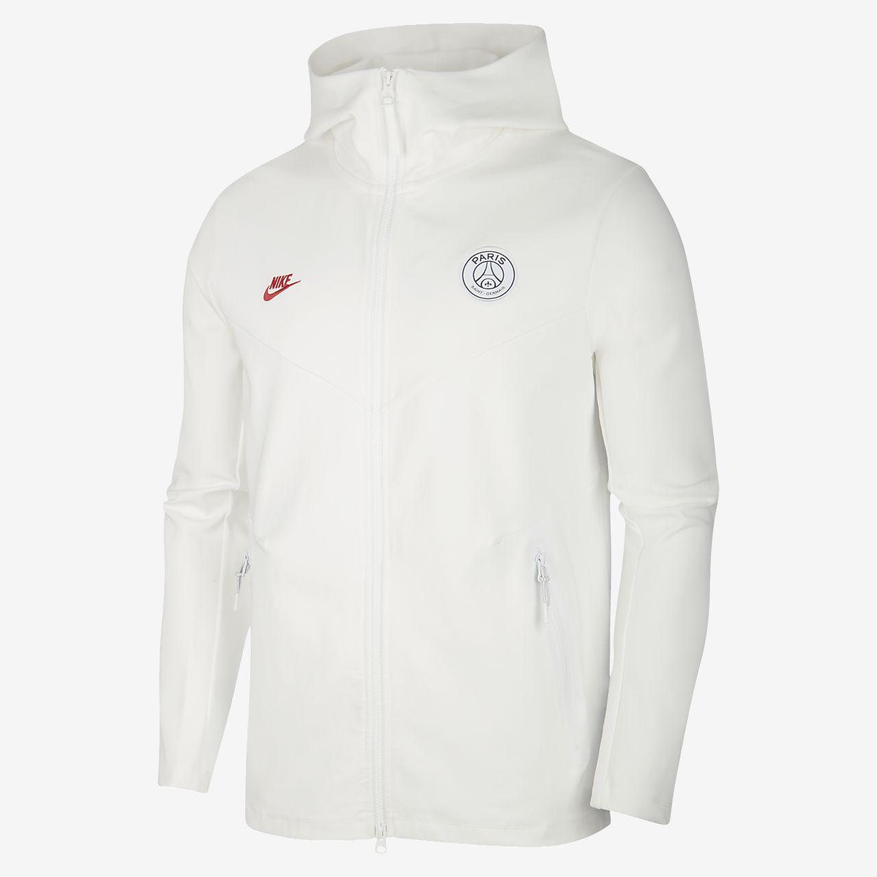 Youth Nike White Paris Saint Germain Windrunner Hoodie Full Zip Jacket