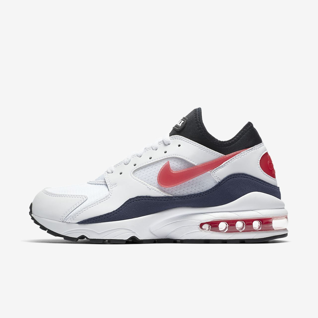 Men's Nike Air Max 93 Running Shoes White/Habanero Red/Neutral Indigo 306551 102