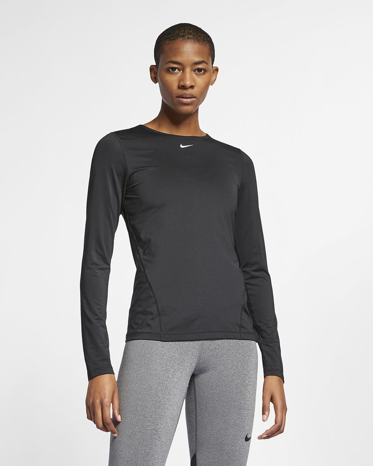 Nike Pro Mesh Oberteil mit langen Ärmeln für Damen