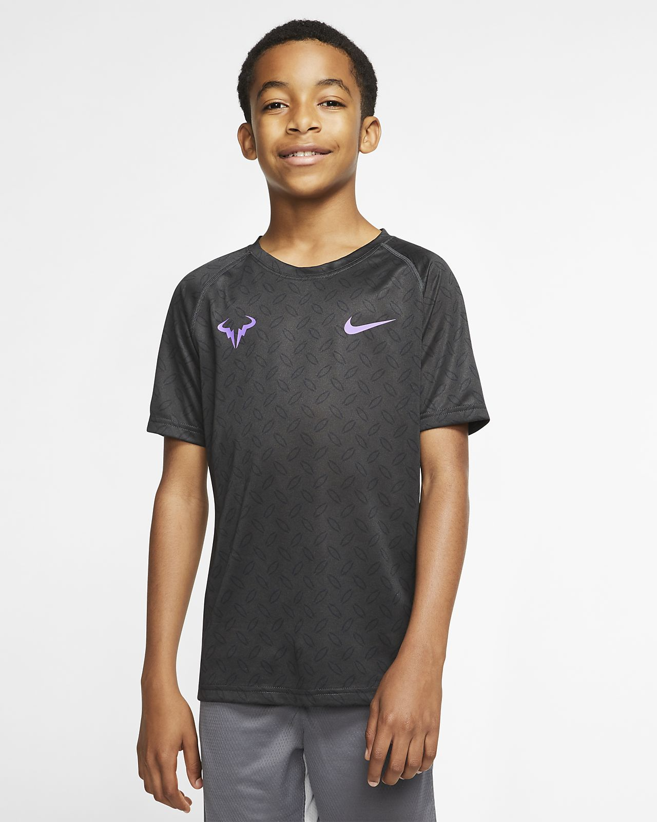 Chlapecké tenisové tričko NikeCourt Dri-FIT Rafa s grafickým motivem