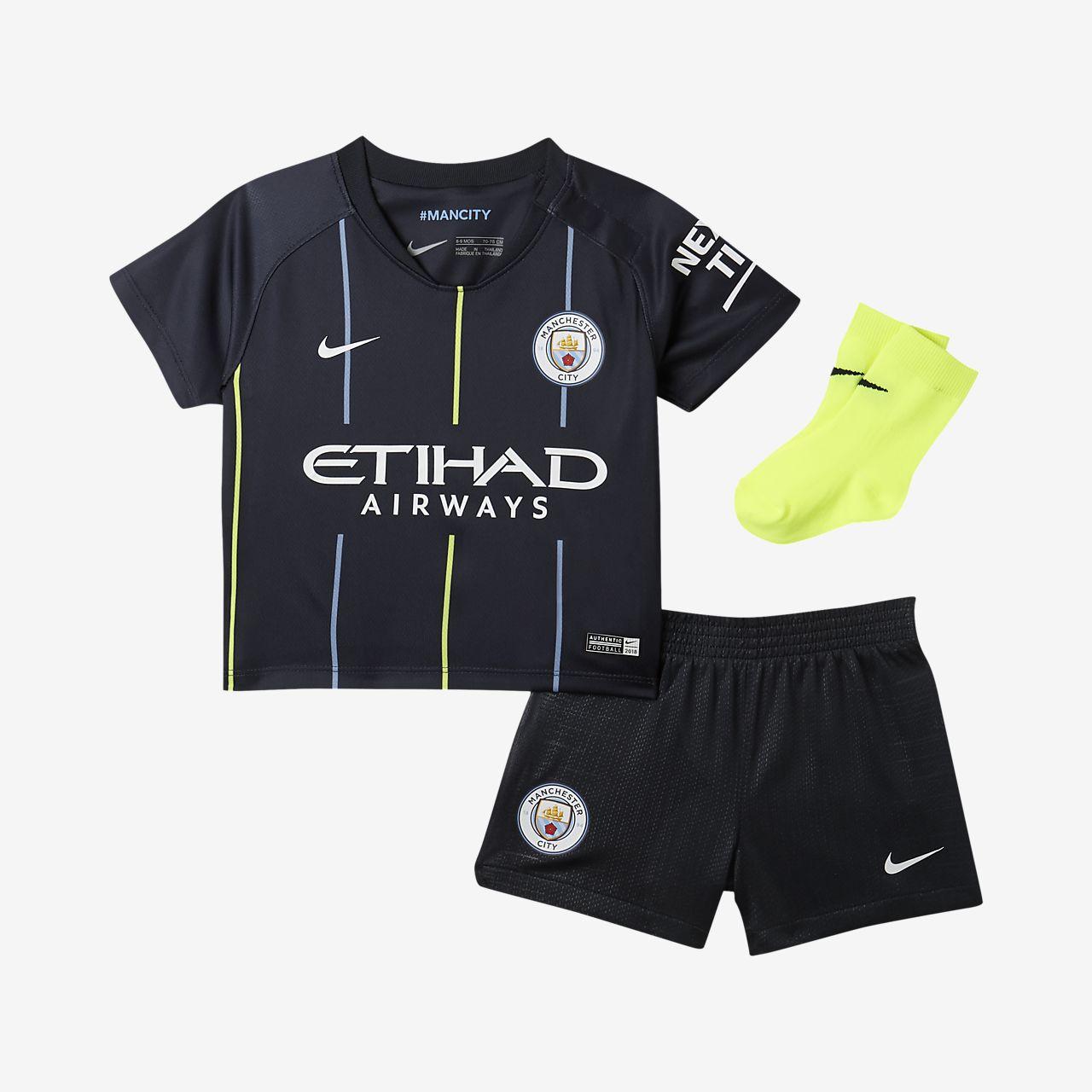 Kit de fútbol para bebé e infantil de visitante Stadium del Manchester City FC 2018/19