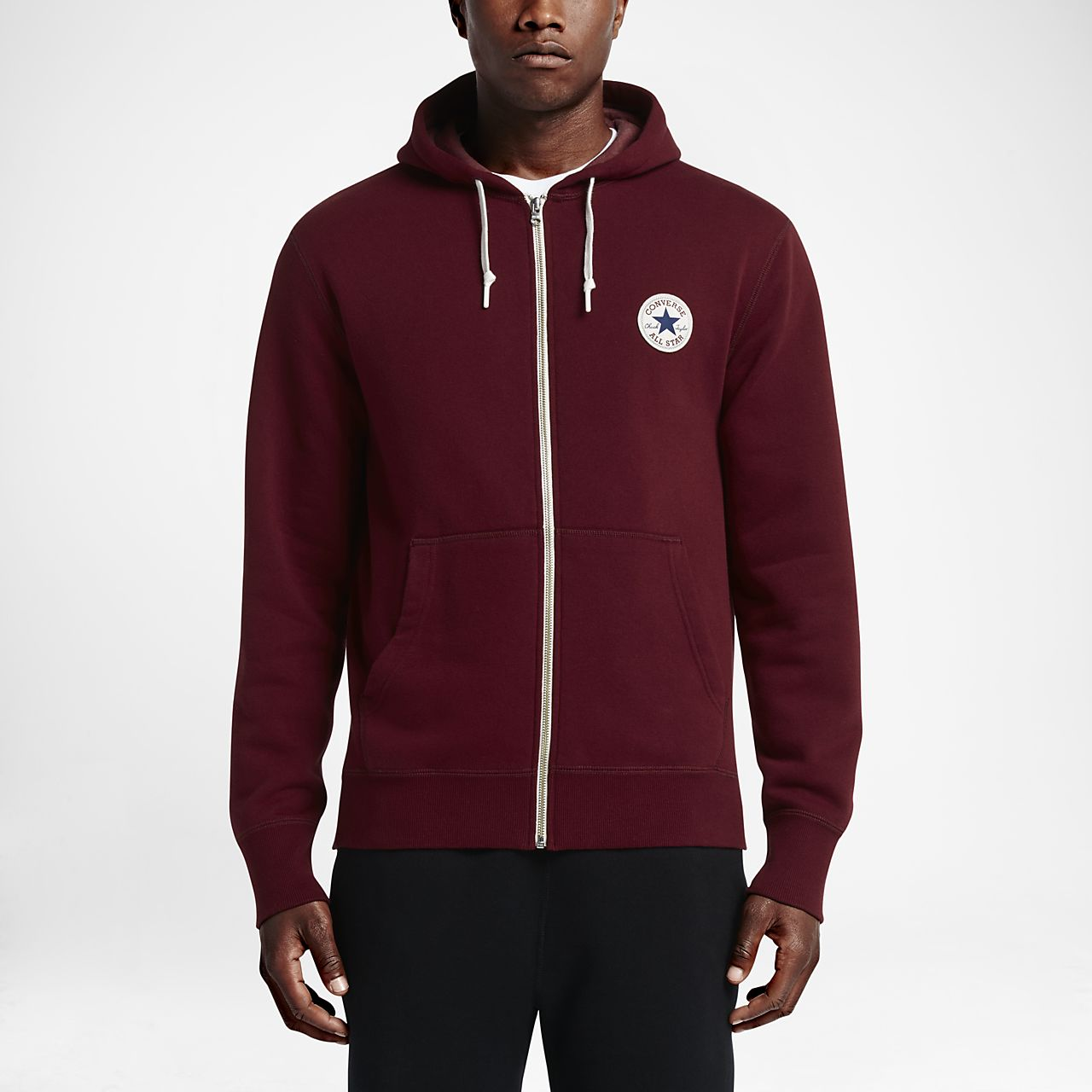 9dfdfc1fd0fd Converse Chuck Patch Mens Hooded Top Sportswear Mens Sportswear  COLOUR-burgundy