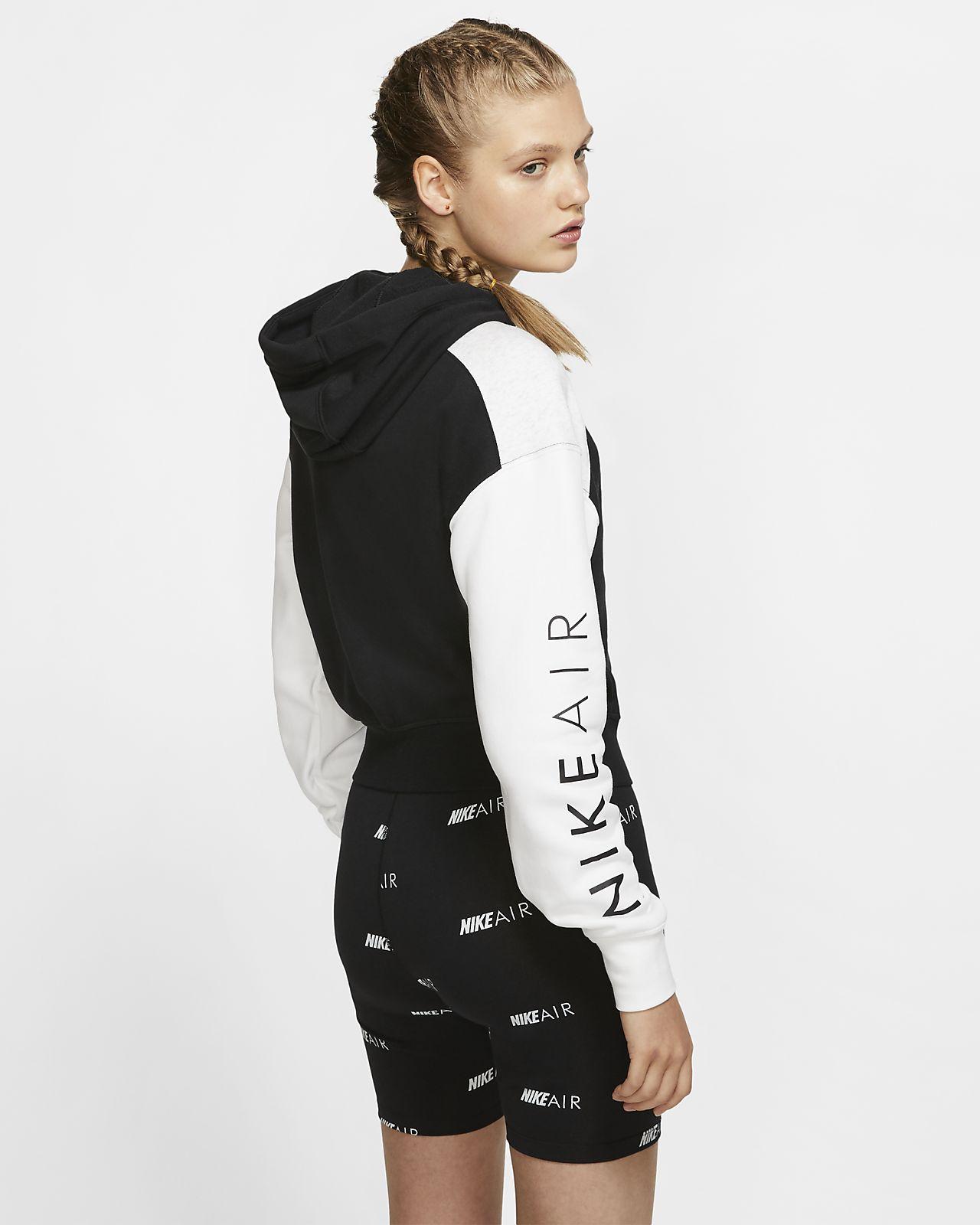 Nike Air Women's Cropped Fleece White Hoodie