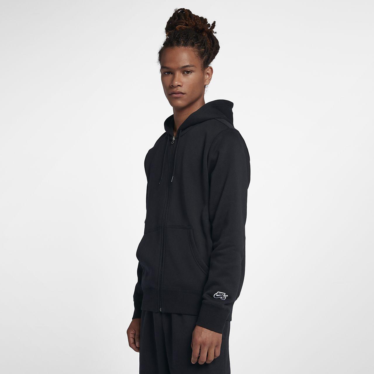 Nike SB Icon Essential 男子全长拉链开襟滑板连帽衫