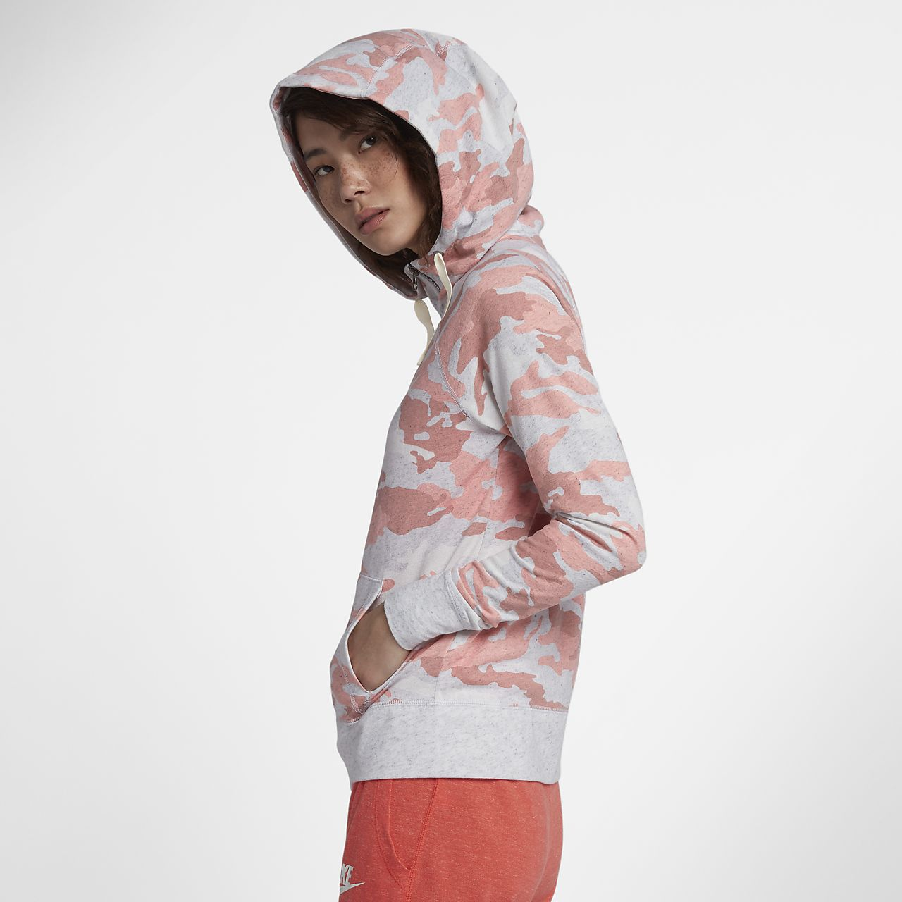 Womens Nike Camouflage Printed AS NSW GYM VNTG HOODIE FZ CA