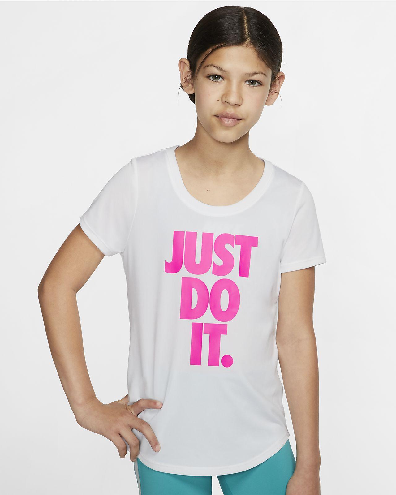 Nike Dri-FIT trenings-T-skjorte for store barn (jente)