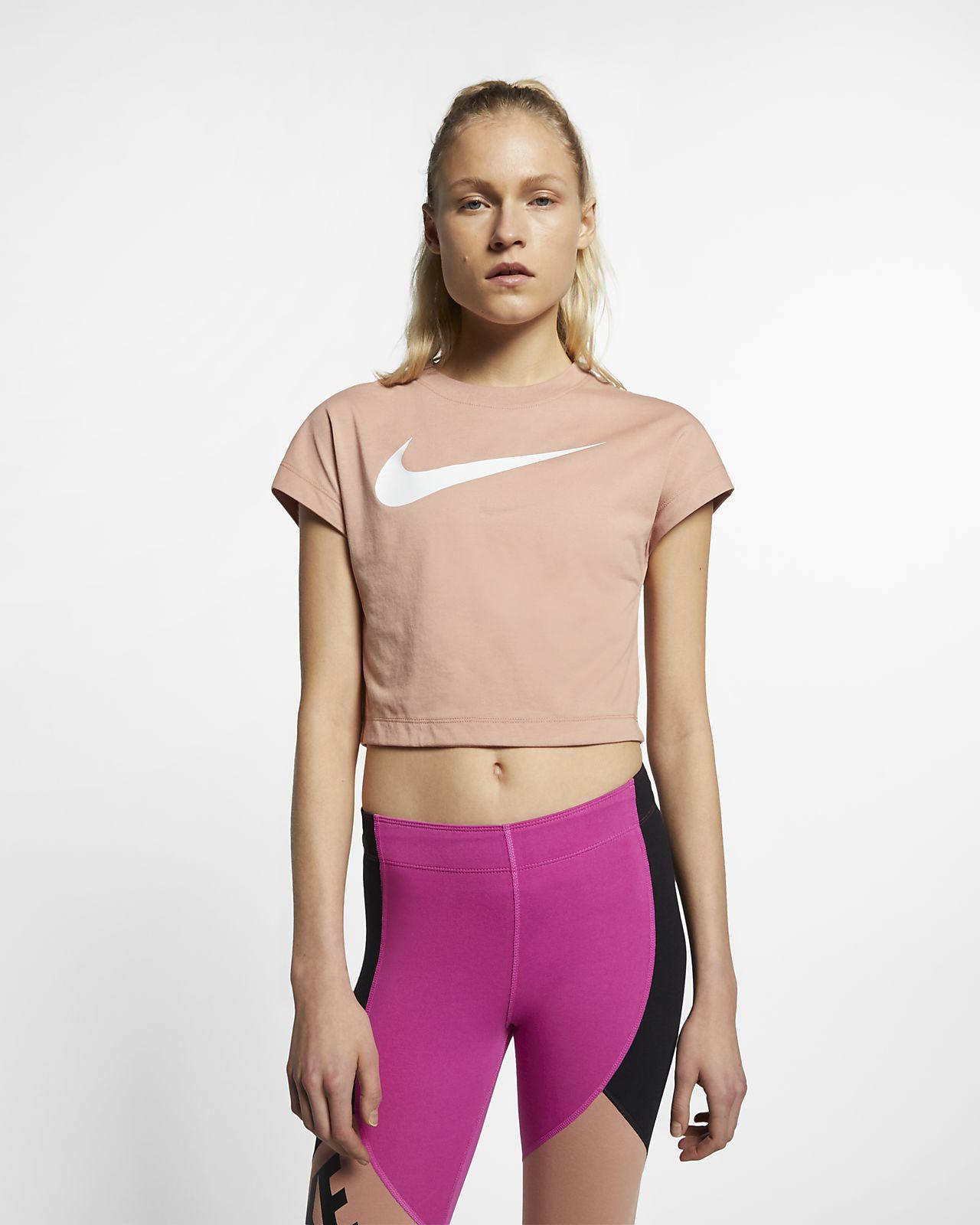 Top corto de manga corta Swoosh para mujer Nike Sportswear
