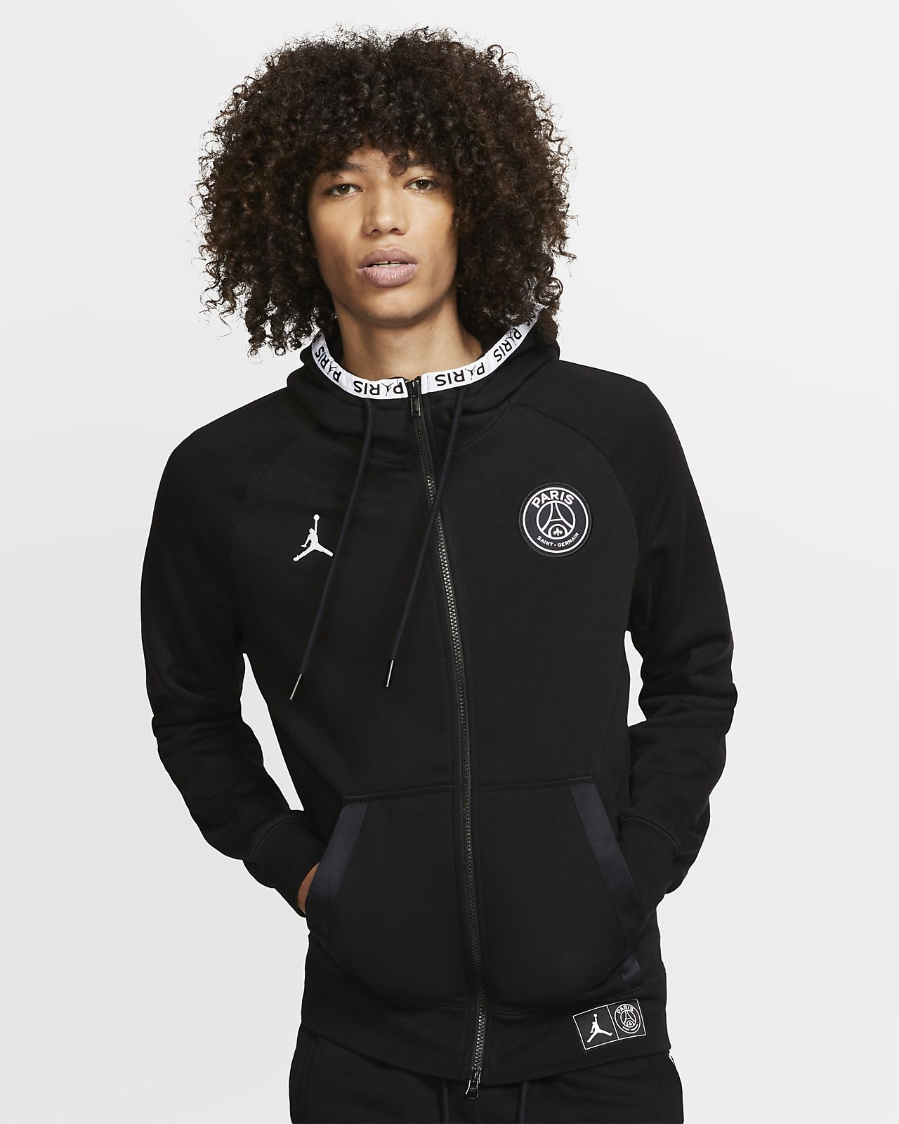 Paris Saint-Germain Black Cat Men's Full-Zip Fleece Hoodie