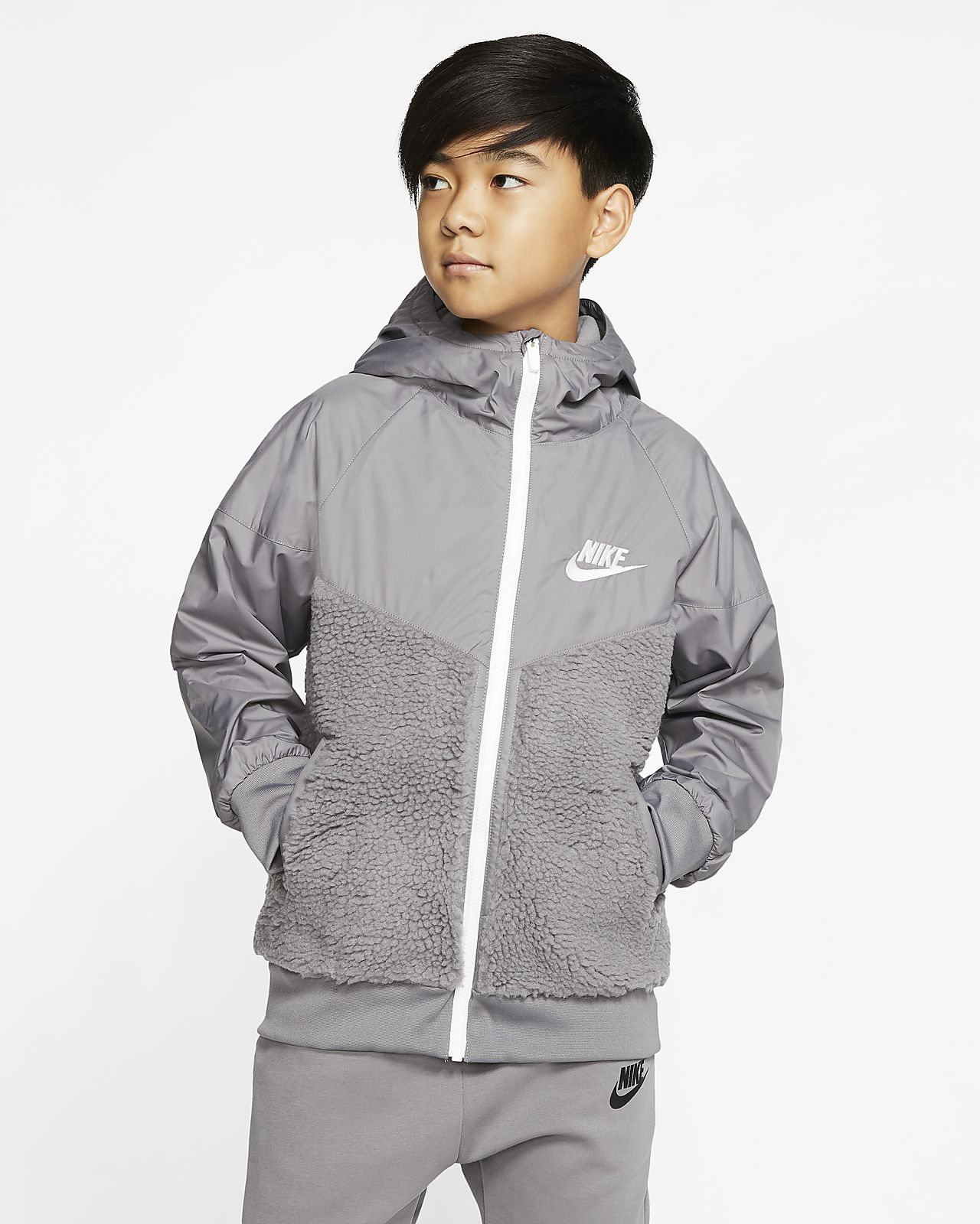 Nike Sportswear Windrunner Big Kids' (Boys') Sherpa Jacket