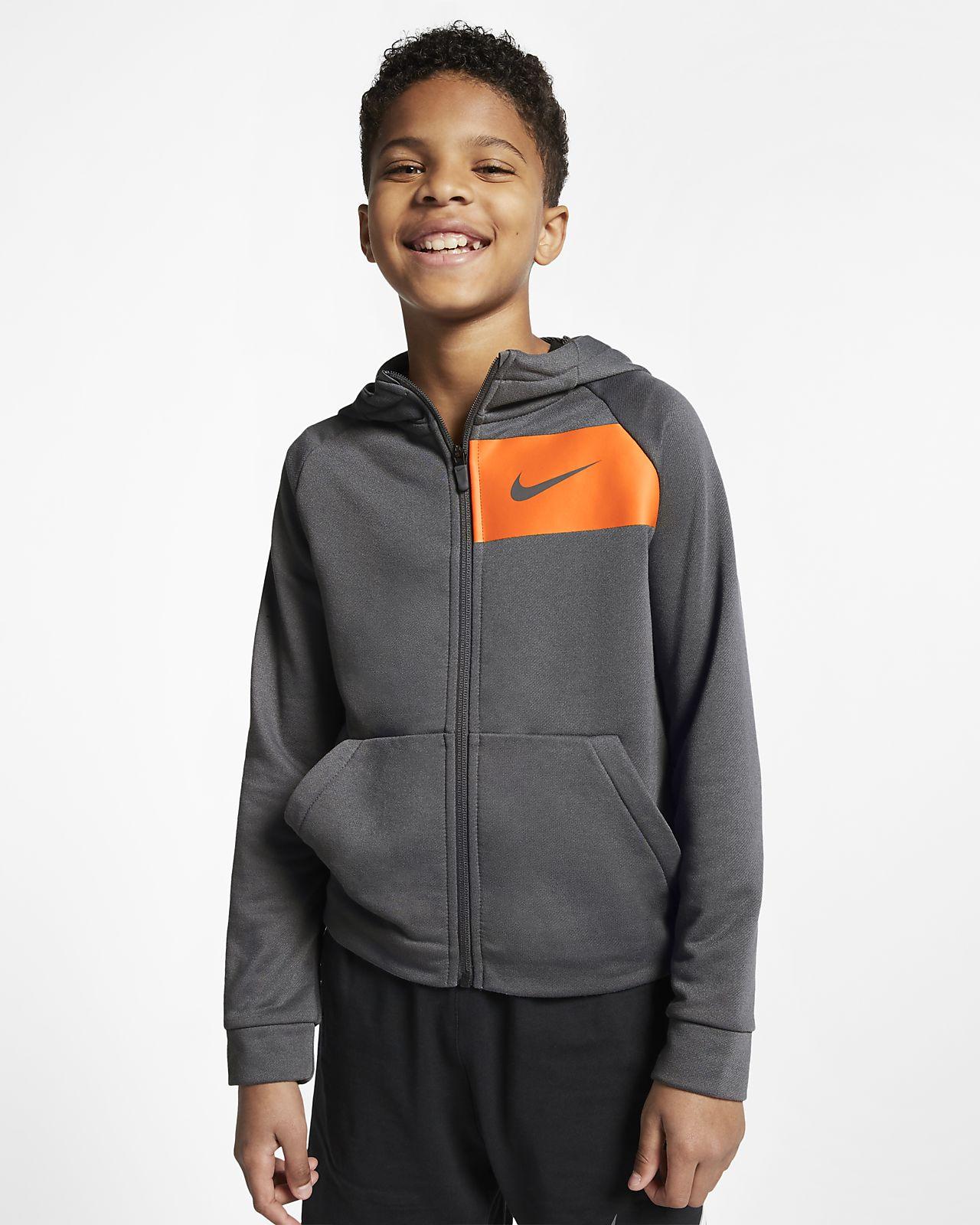 Sudadera con capucha de entrenamiento con cierre completo para niños talla grande Nike Dri-FIT