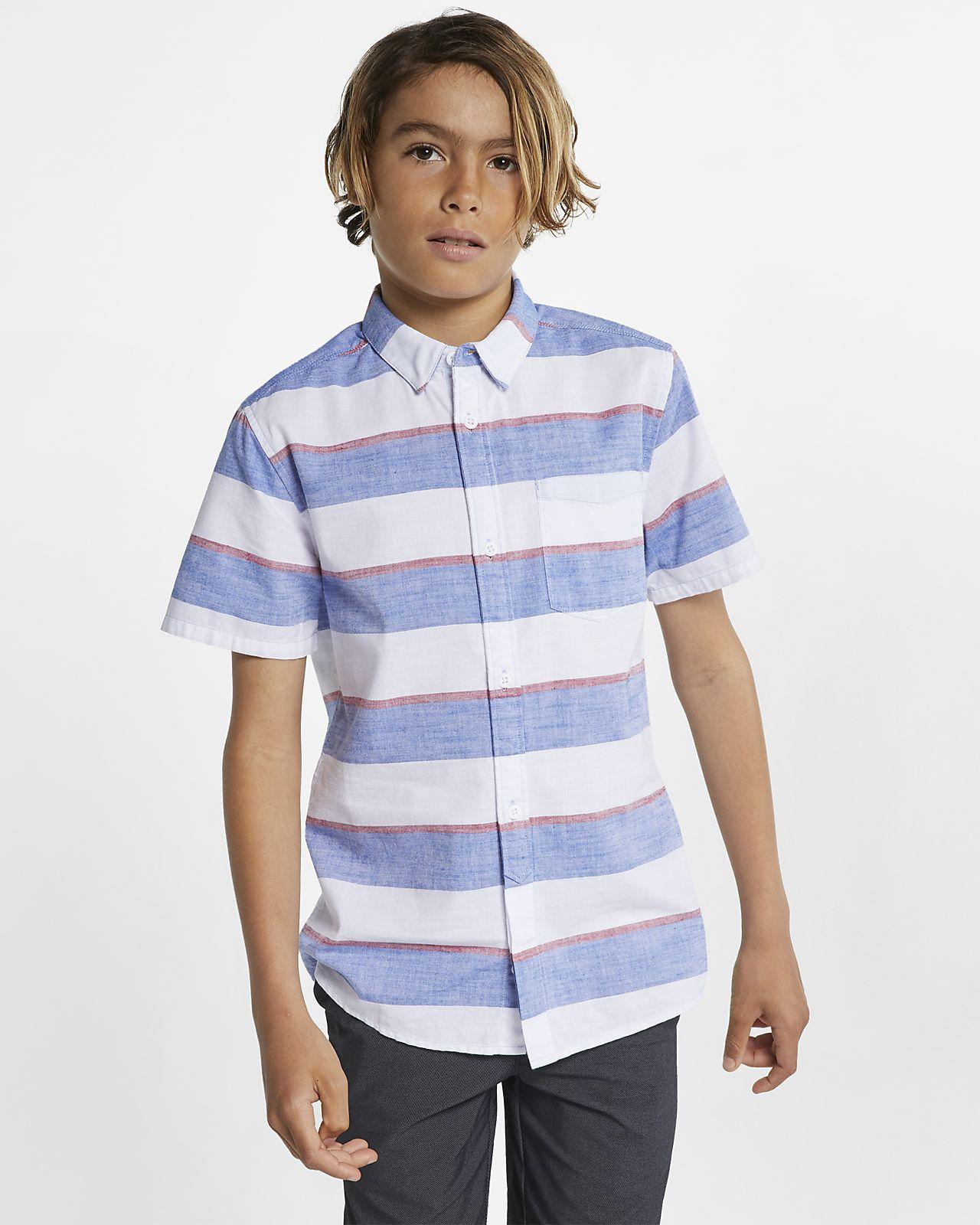 2b5ec5e9849c Αγορίστικη ριγέ μπλούζα με κουμπιά σε όλο το μήκος Hurley Blocked ...