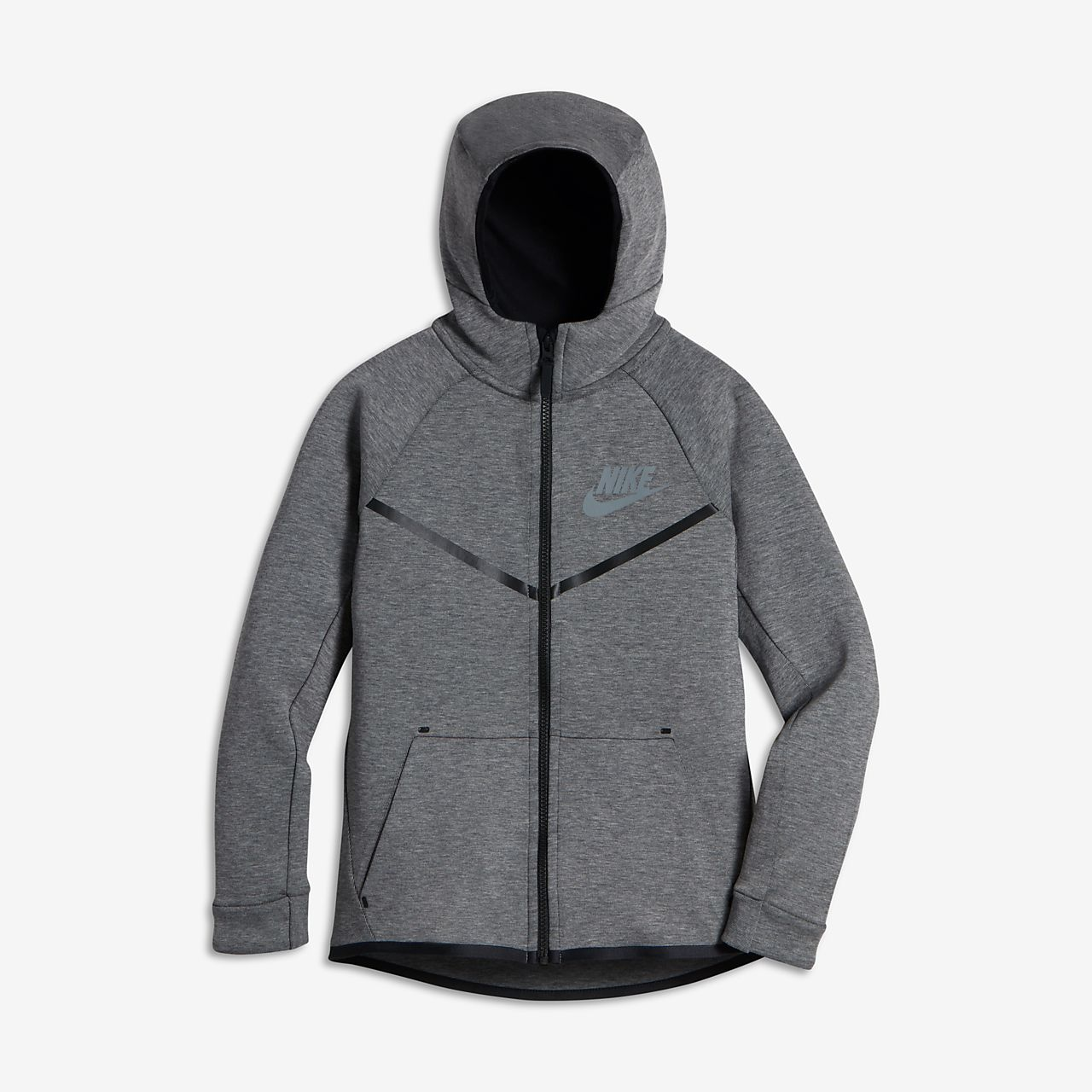 Nike Sportswear Tech Fleece Windrunner Big Kids' Hoodies Black/Cool Grey