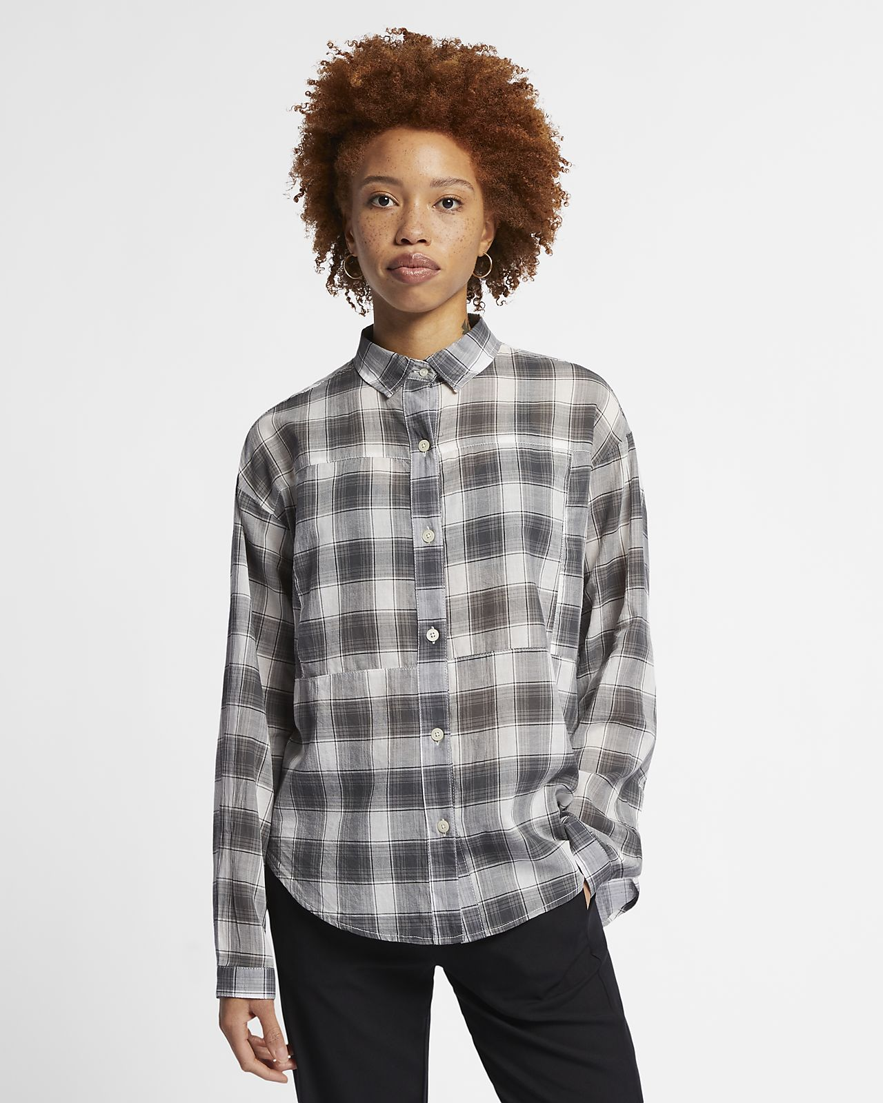 1aa93fa6a1 Camisa de manga comprida axadrezada Hurley Wilson para mulher. Nike ...