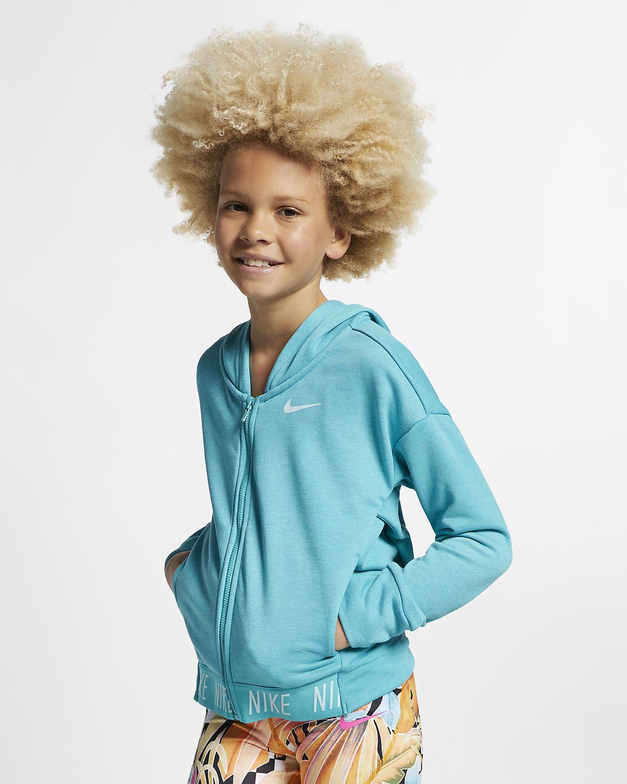 Μπλούζα προπόνησης με κουκούλα και φερμουάρ Nike για μεγάλα κορίτσια