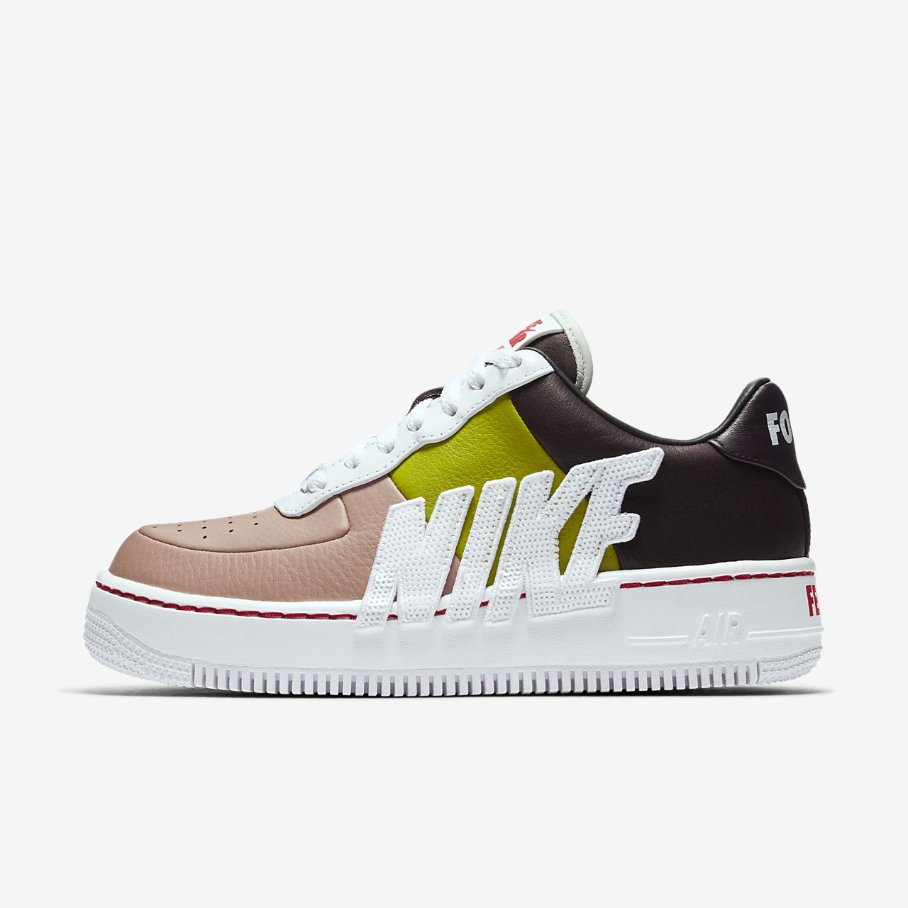 NIKE AIR FORCE 1 UPSTEP LX Women's Shoe - Port Wine/Bright Cactus/White
