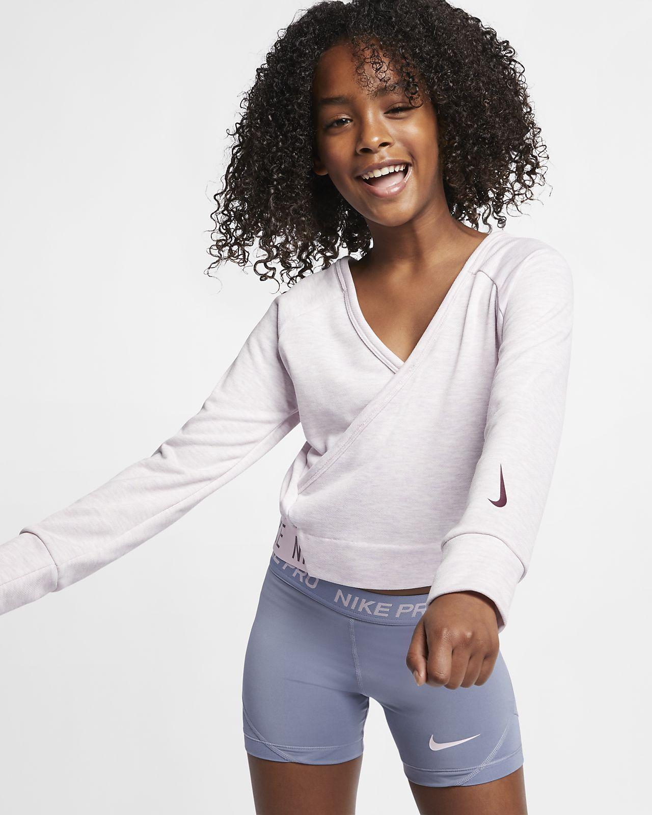 Nike langermet vendbar treningsoverdel til store barn (jente)