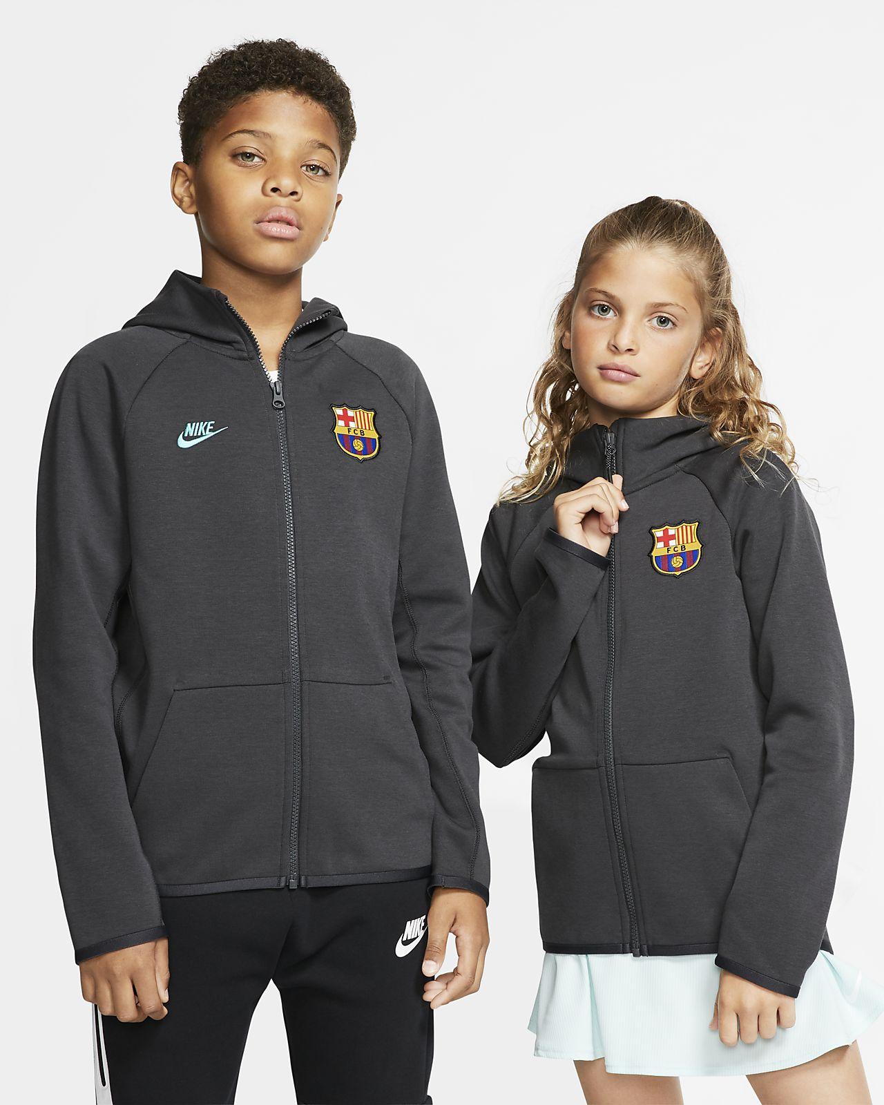 FC Barcelona Tech Fleece Essentials Tam Boy Fermuarlı Genç Çocuk Kapüşonlu Üst