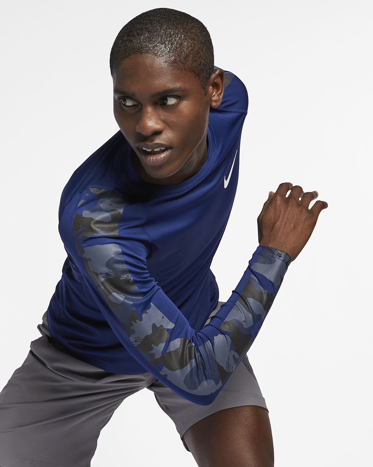 Långärmad kamouflagemönstrad skjorta Nike Pro för män