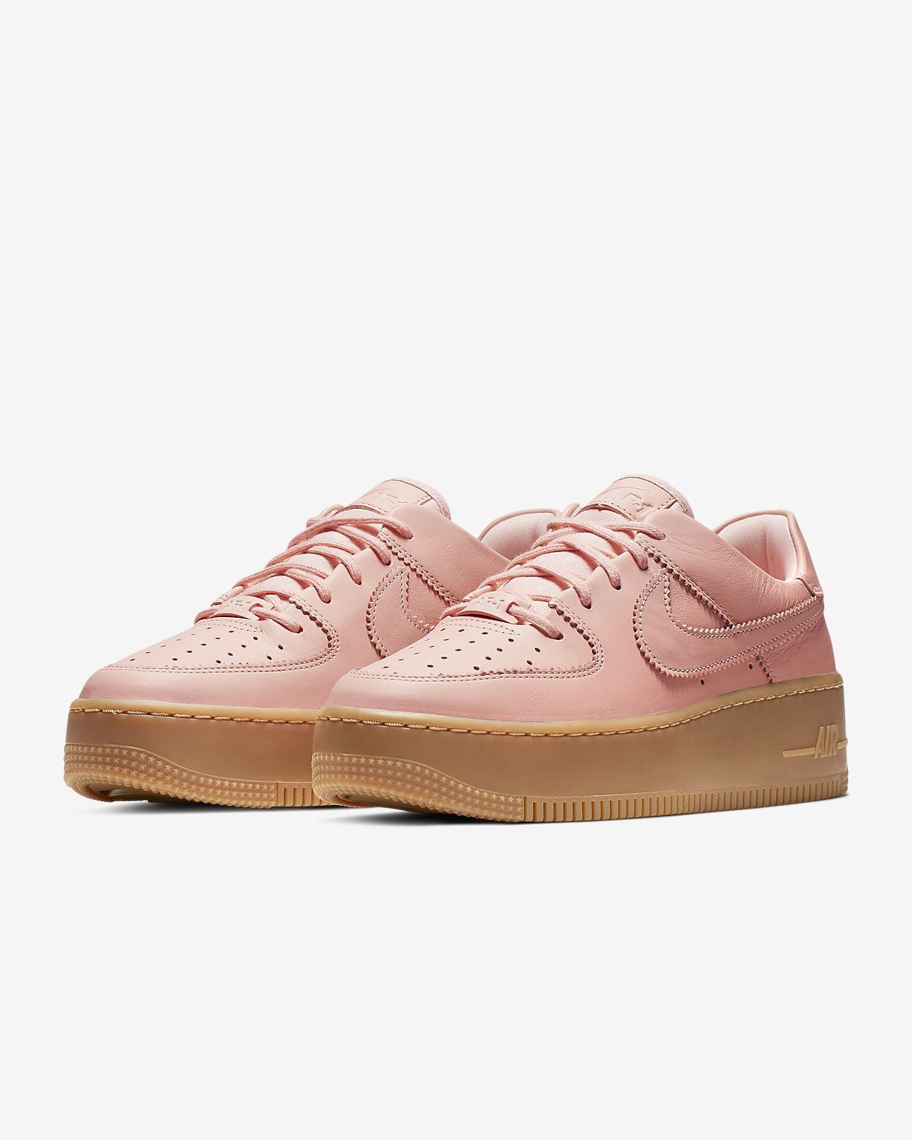 basketball | Nike Damen Wmns Air Force 1 Sage Low LX Light Orewood BrownMelon Tint White, Braun ? Pension Funke