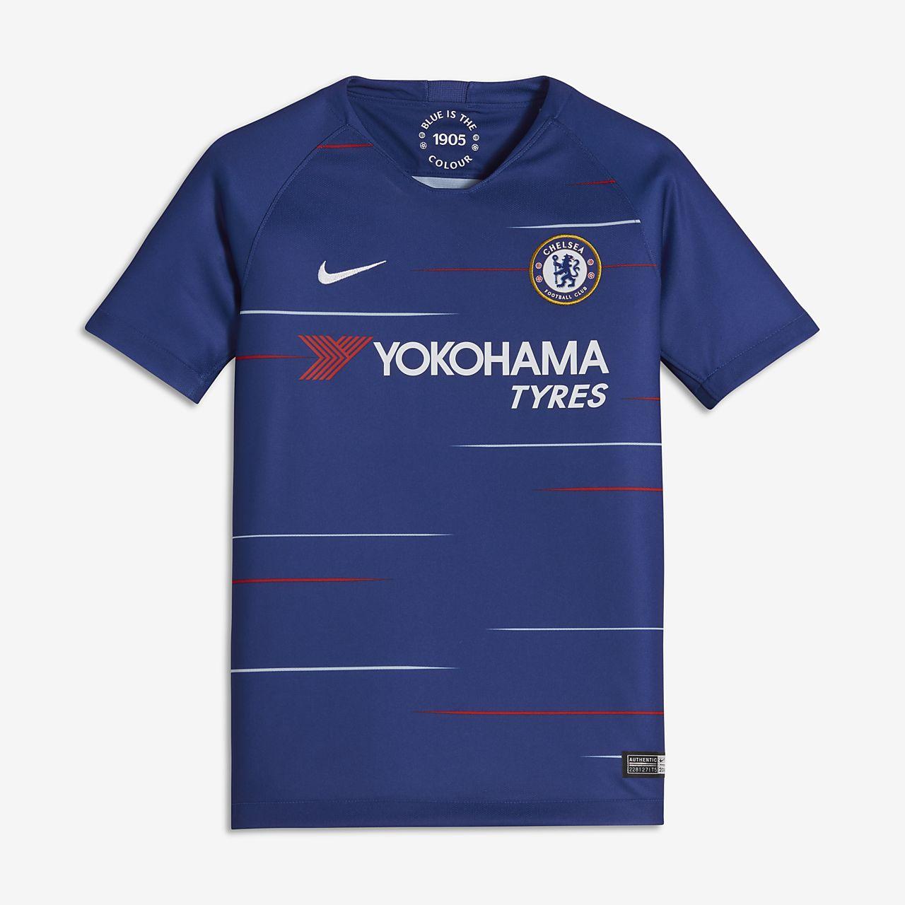 Camiseta de fútbol para niño talla grande 2018 19 Chelsea FC Stadium Home 3d1a1fea29db8