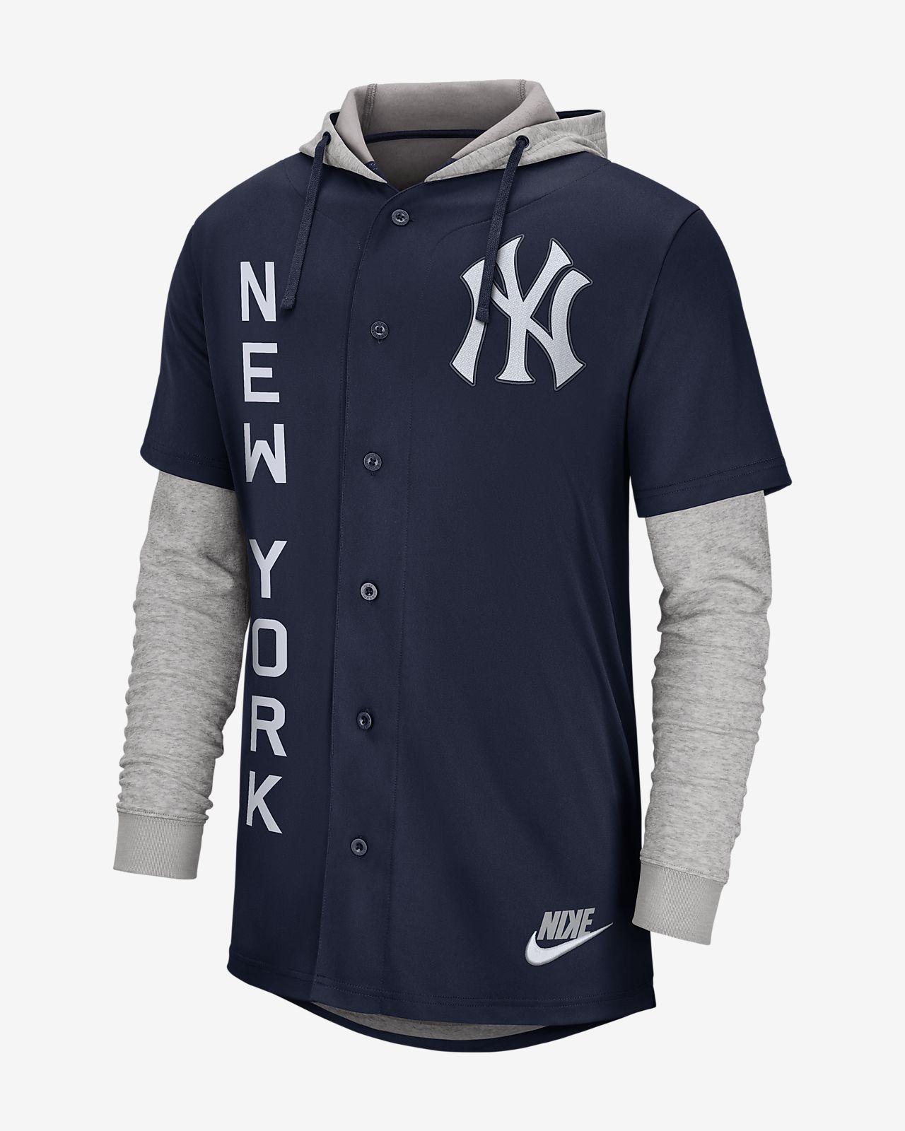 Nike (MLB Yankees) Men s Hooded Baseball Jersey. Nike.com f4bd5a404540