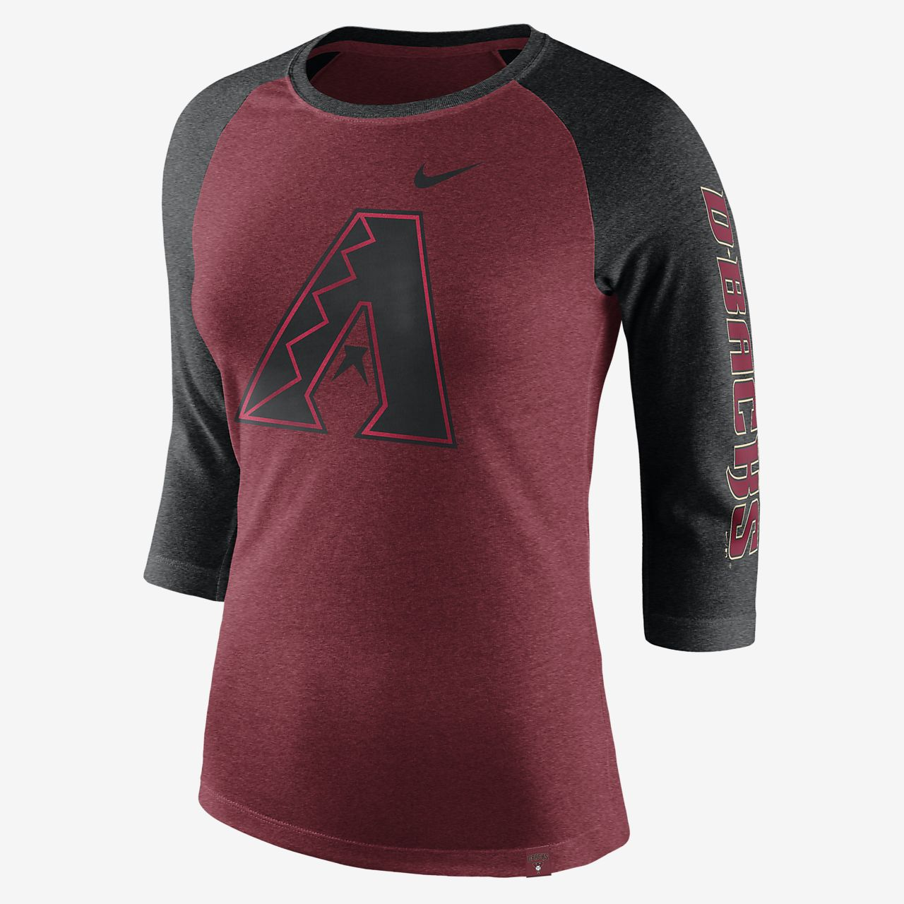 Nike Tri-Blend Raglan (MLB Diamondbacks) Women's 3/4 Sleeve Top