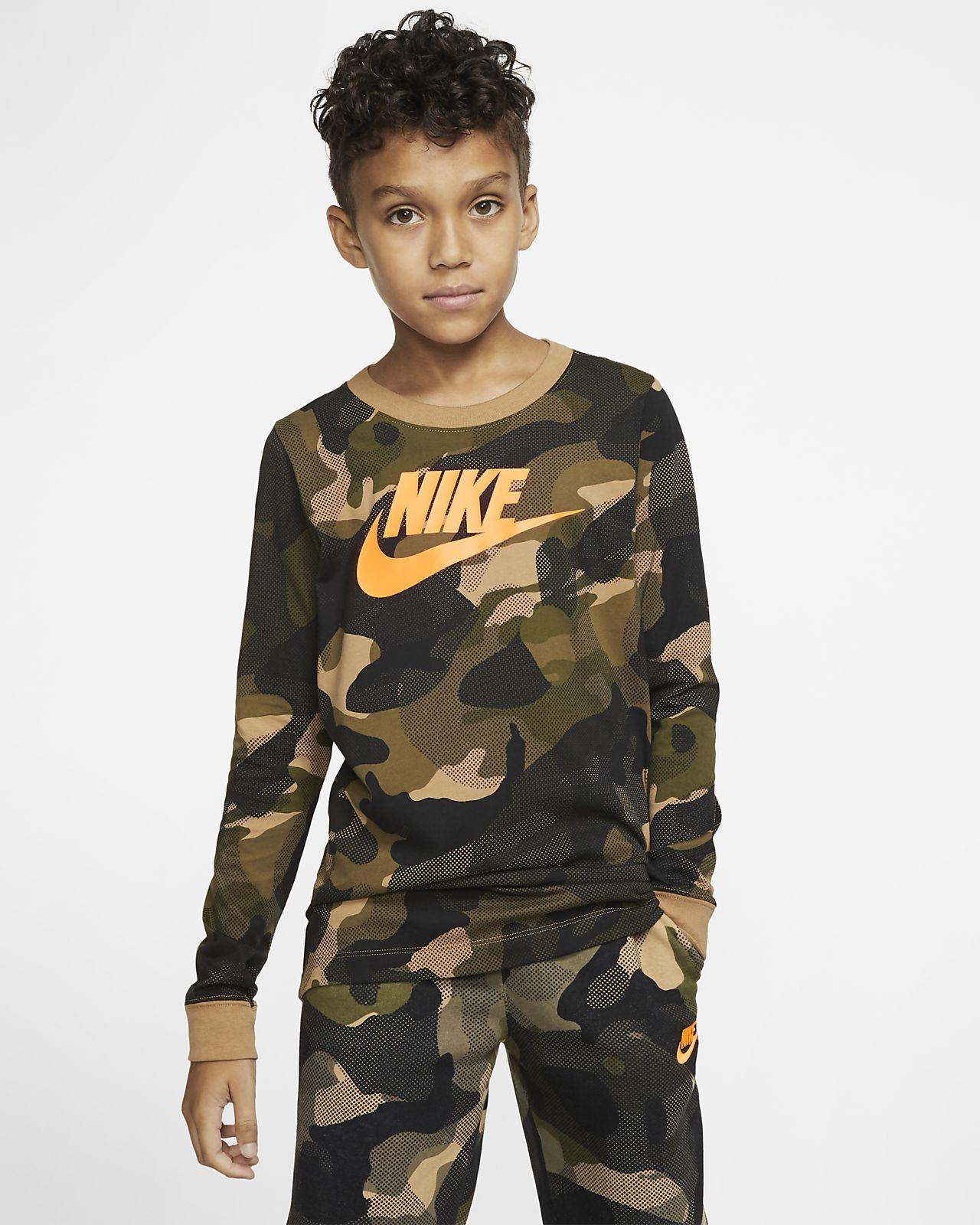 Playera de manga larga para niño talla grande Nike Sportswear