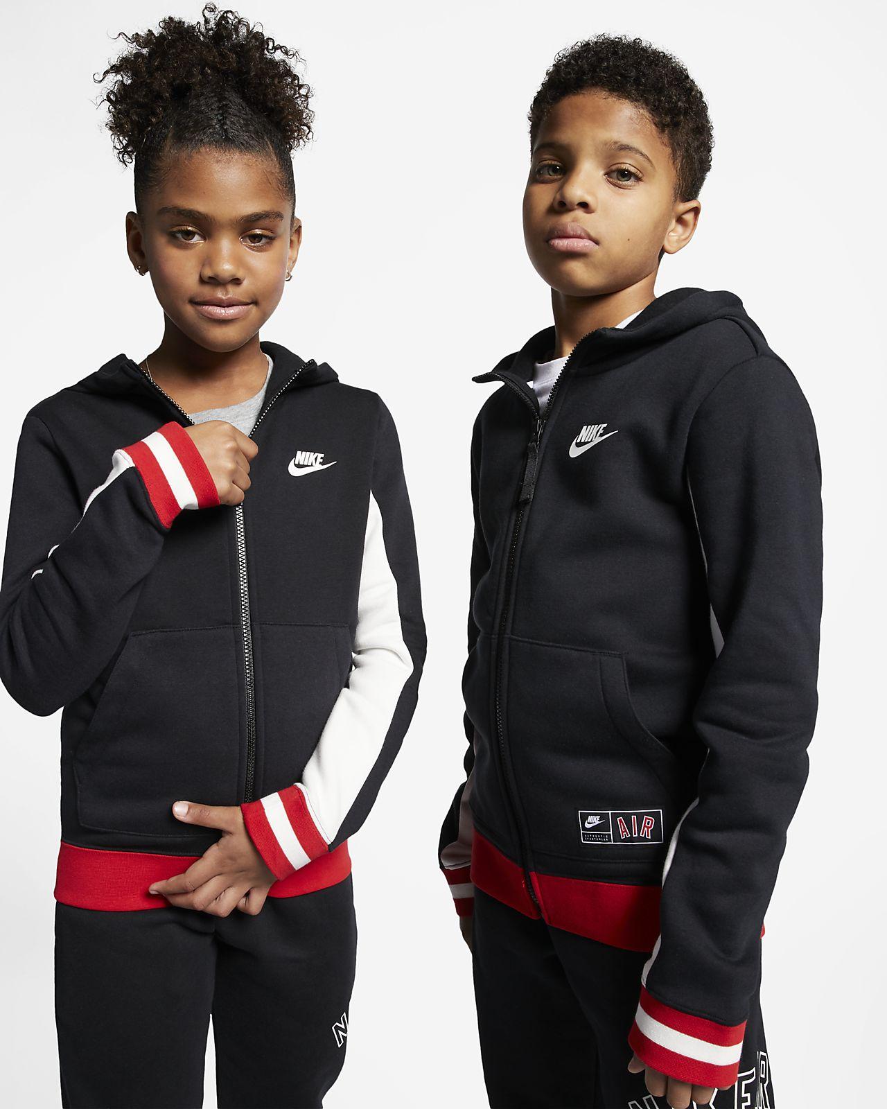 Sudadera con capucha de cierre completo para niños talla grande Nike Air