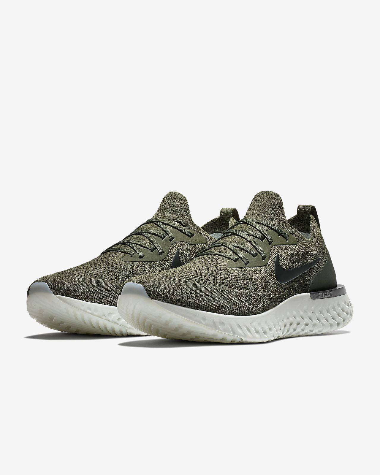 Mens Nike Order Epic React Flyknit Grey White Running Shoes