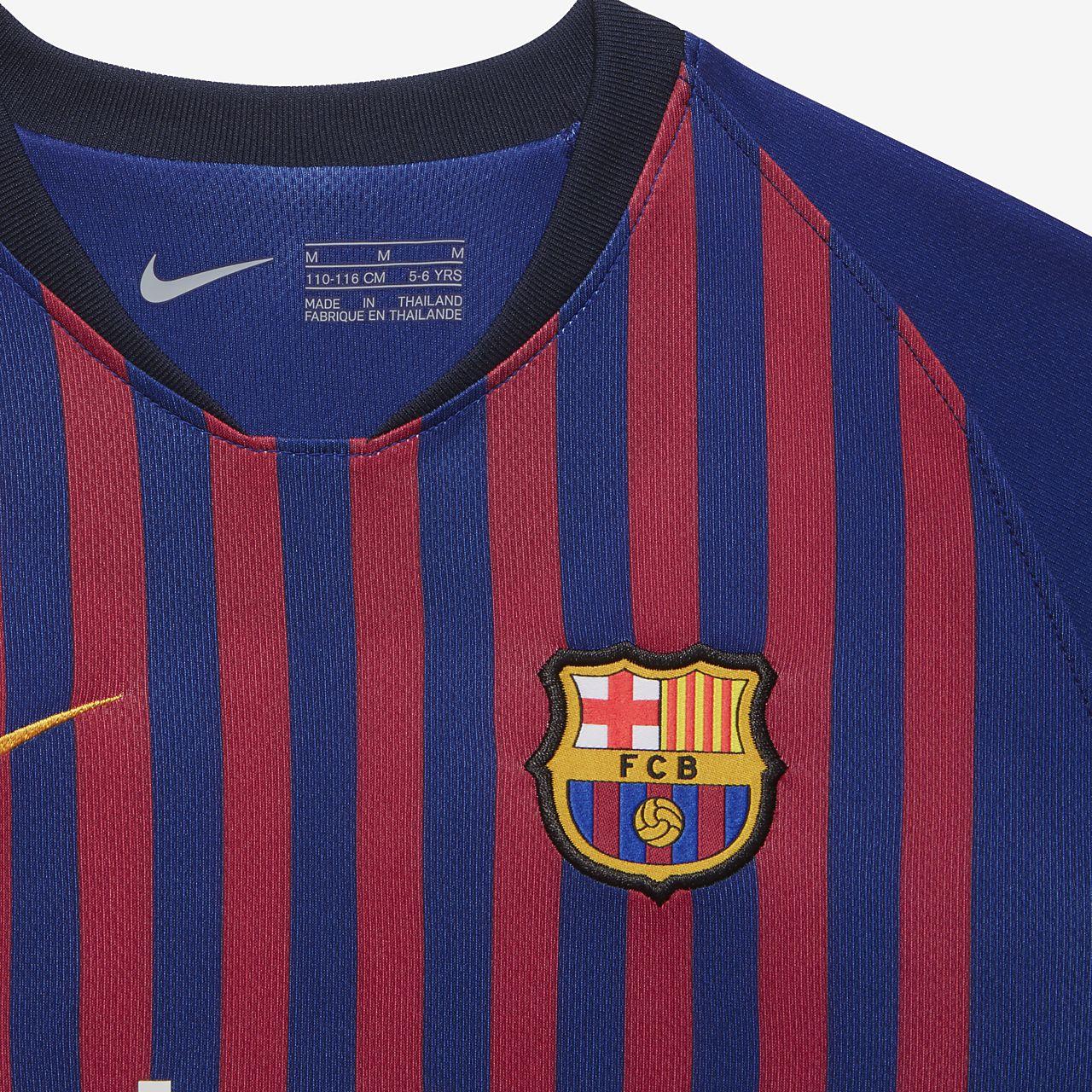 4ffec22d10ff97 ... 2018 19 FC Barcelona Stadium Home Fußballtrikot-Set für jüngere Kinder