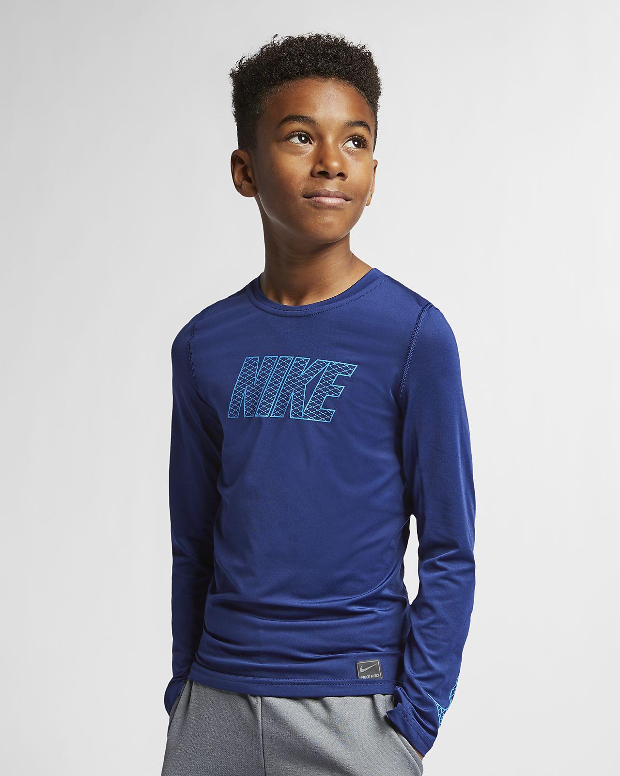 Nike Pro langermet treningsoverdel for store barn (gutt)