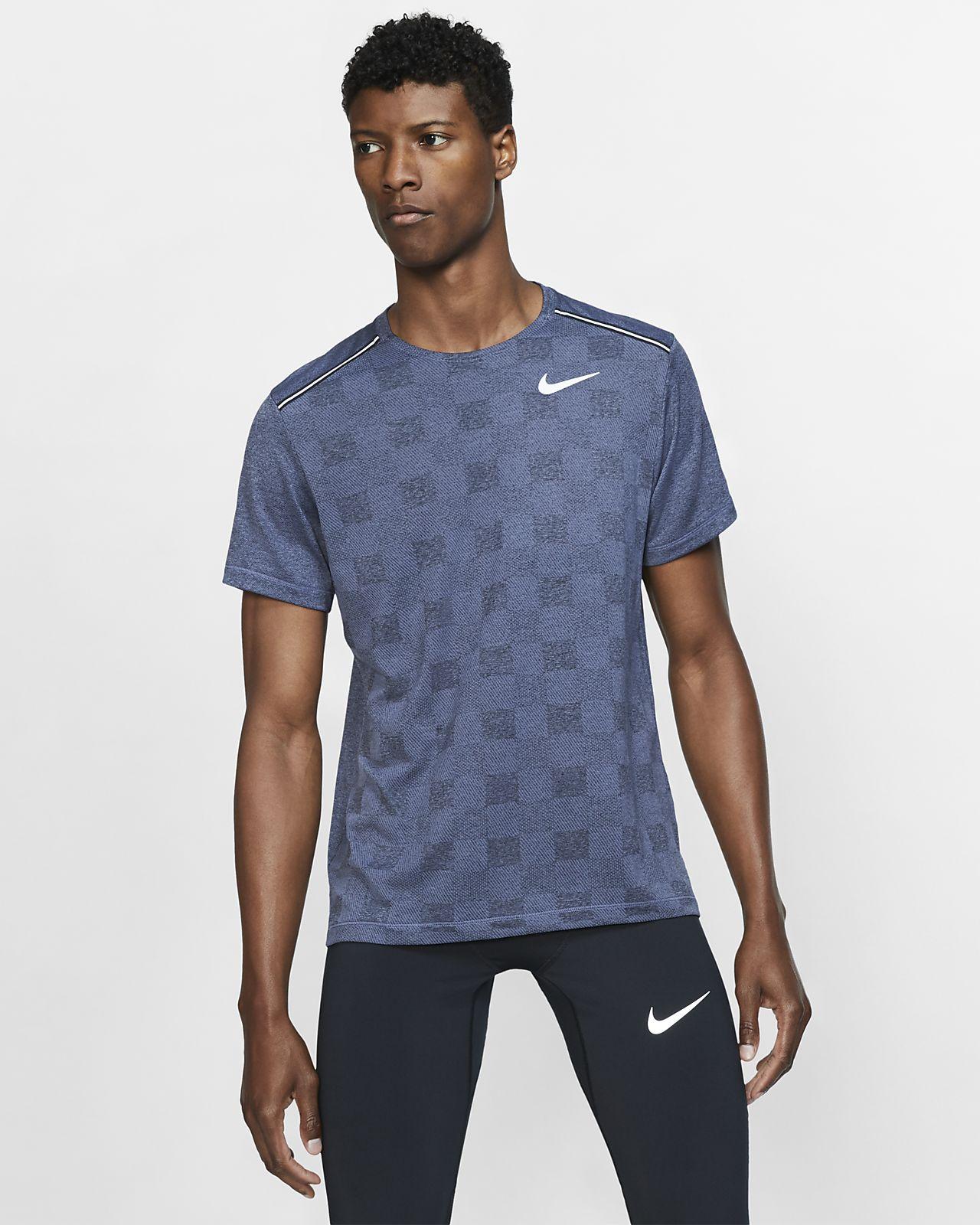 Kortærmet Nike Dri-FIT Miler-maskinstrikket løbeoverdel til mænd