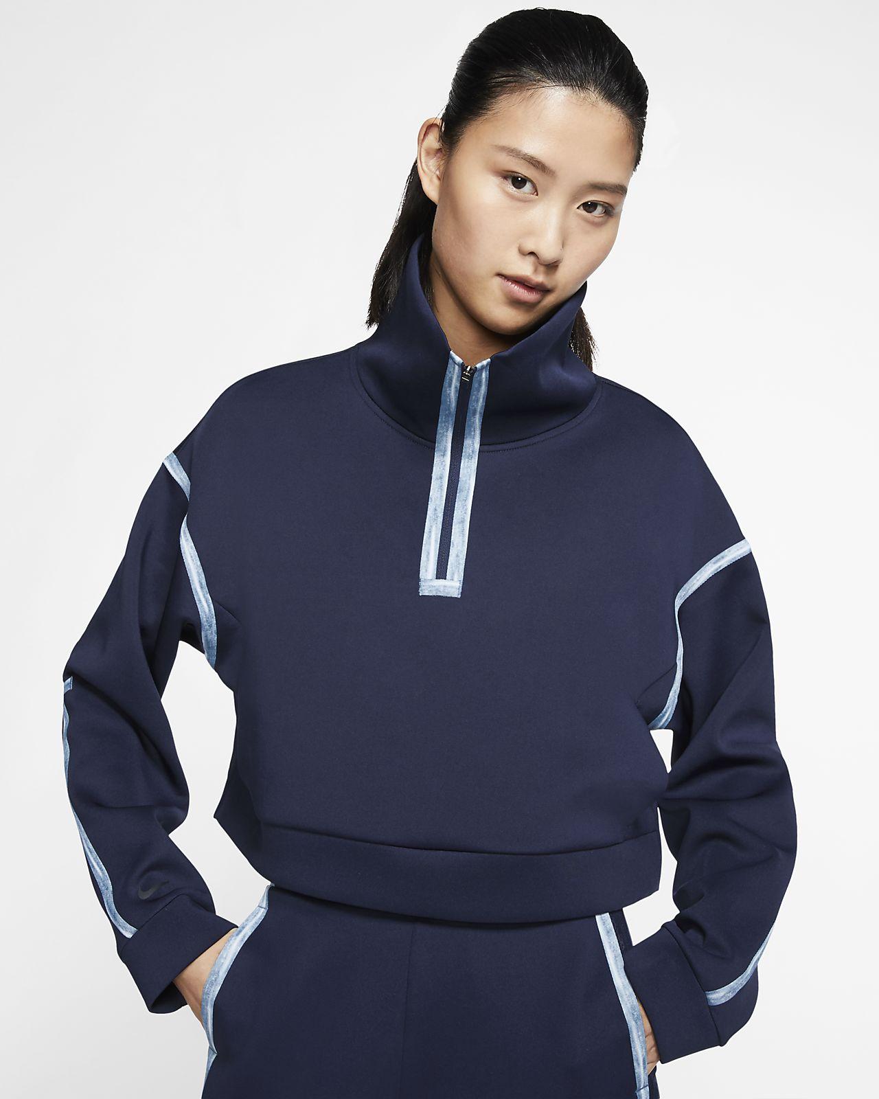 Pullover de treino em lã cardada com fecho a 1/4 Nike City Ready para mulher