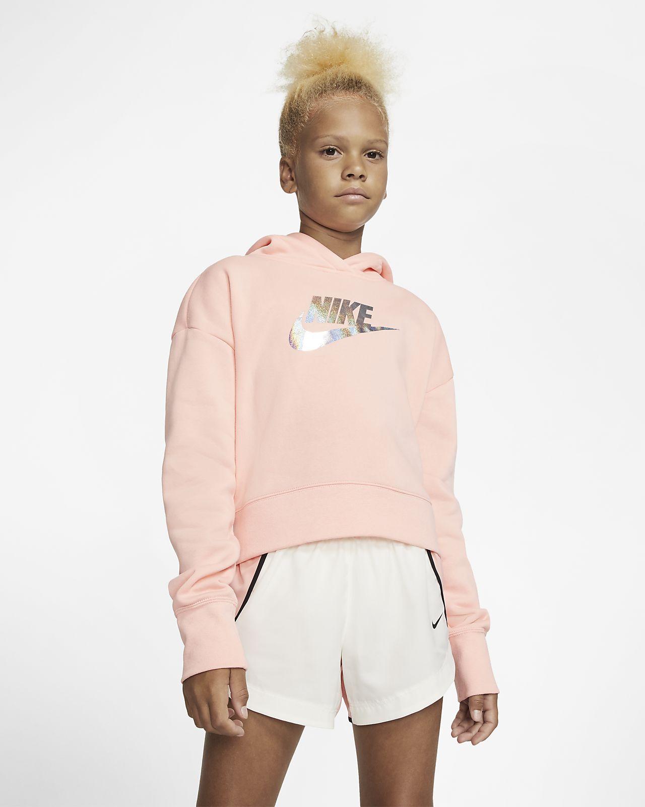 Zkrácená mikina Nike Sportswear s kapucí pro větší děti (dívky)