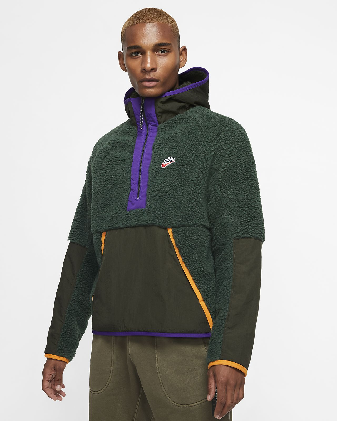 Mikina Nike Sportswear s umělým beránkem, kapucí a polovičním zipem