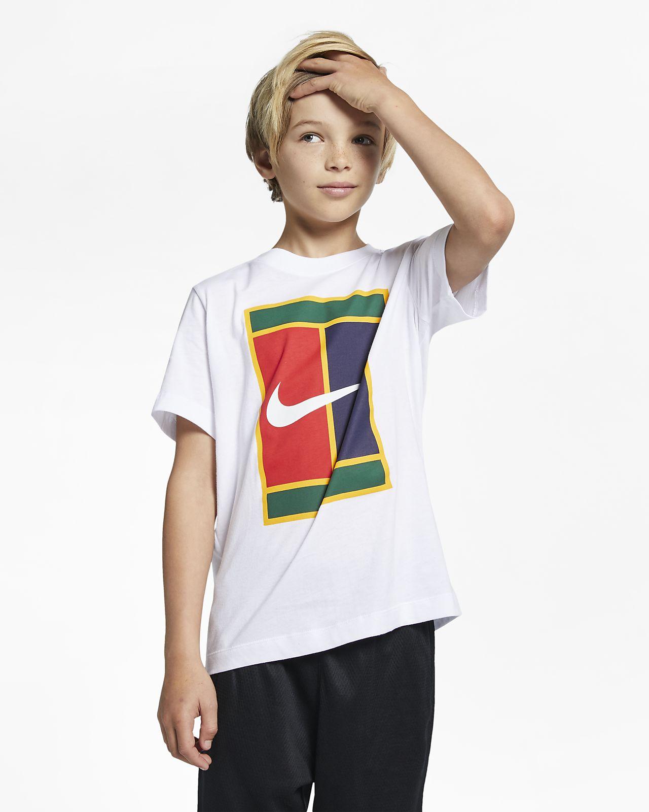 T-shirt do tenisa dla dużych dzieci (chłopców) NikeCourt