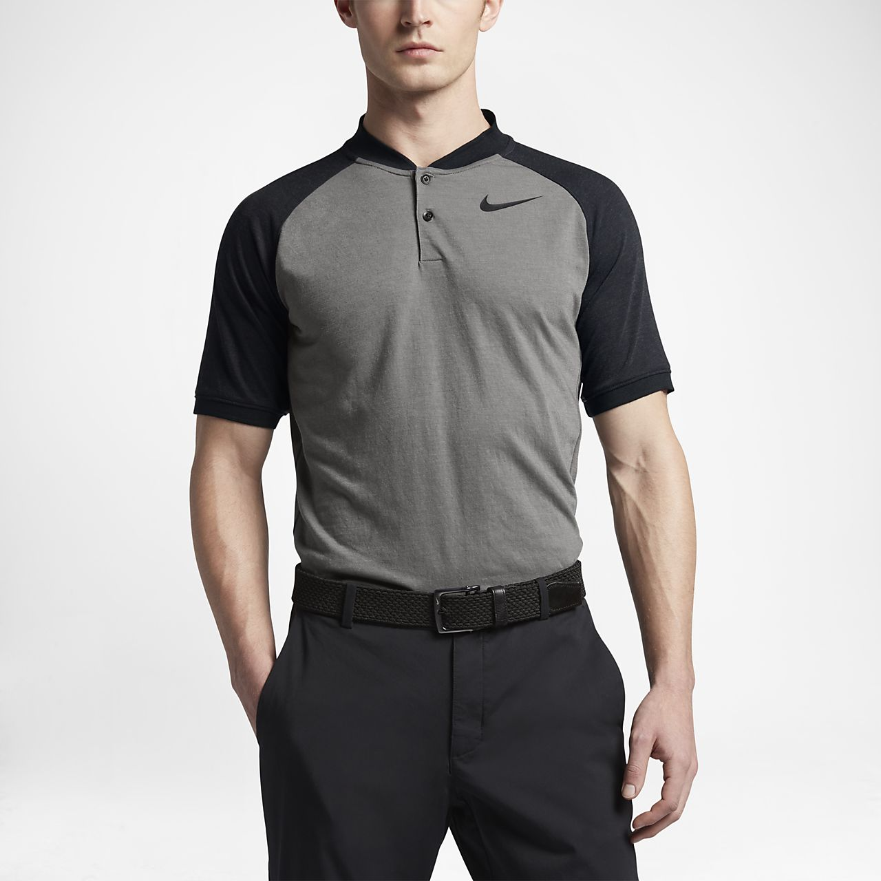 Nike Raglan Men's Slim Fit Golf Polo Shirts Dark Grey Heather/Black