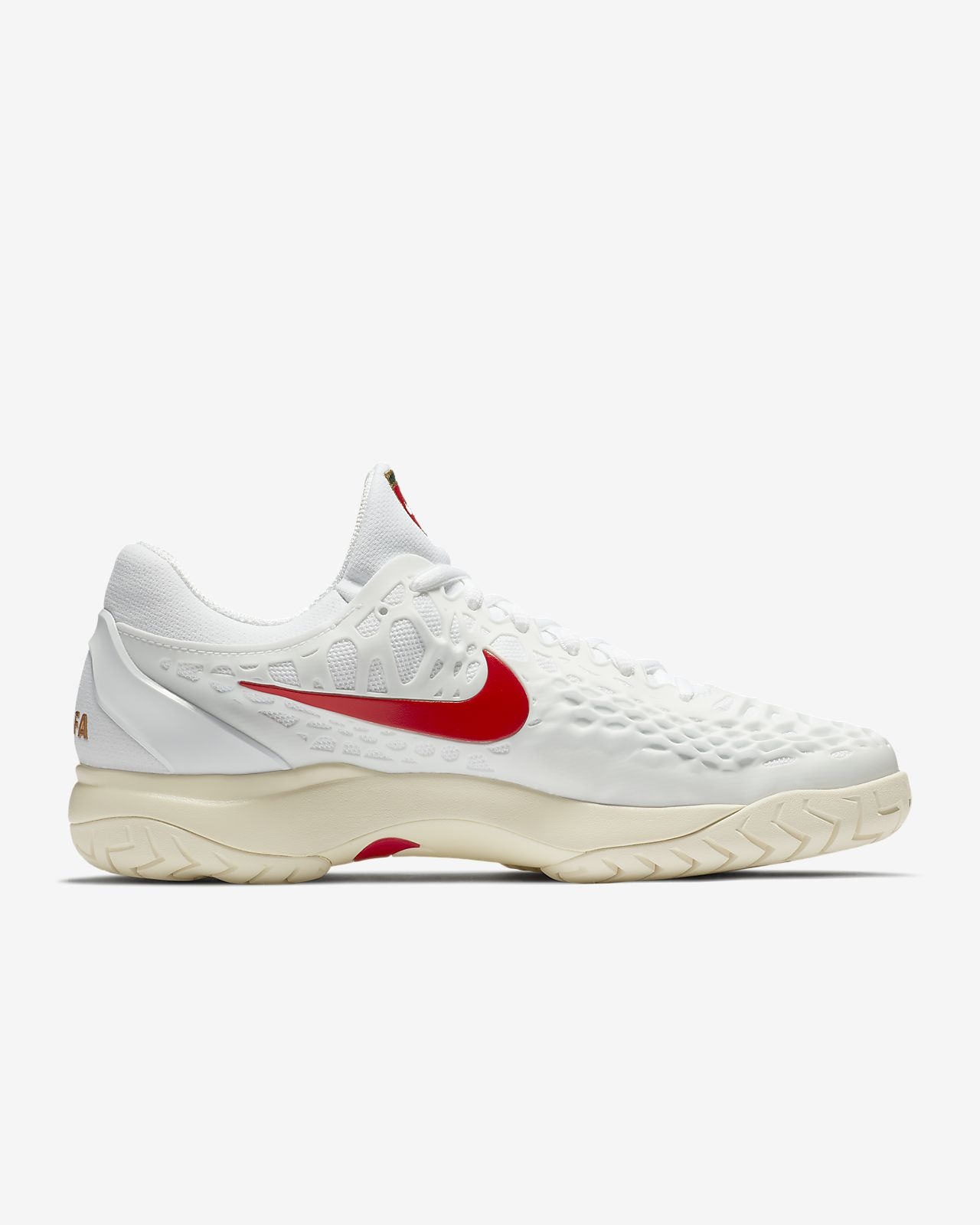 brand new 195a3 1048b scarpa da tennis nike zoom cage 3 hc bianco light cream metallic  gold university red 918193-103