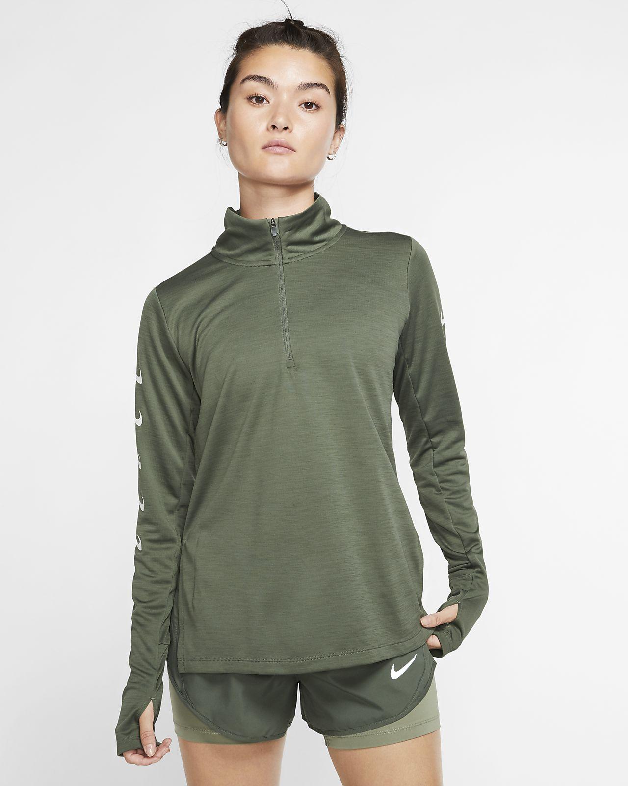 Nike Swoosh-løbeoverdel med lynlås i halv længde til kvinder