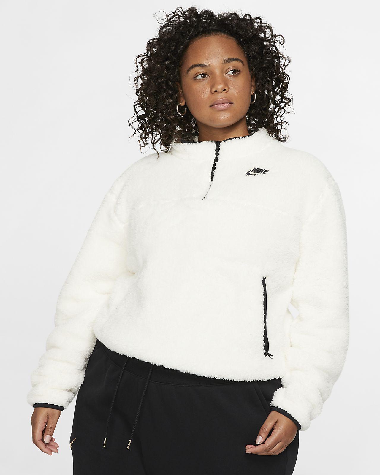 Nike Sportswear Sherpa Fleece Çeyrek Fermuarlı Kadın Üstü (Büyük Beden)