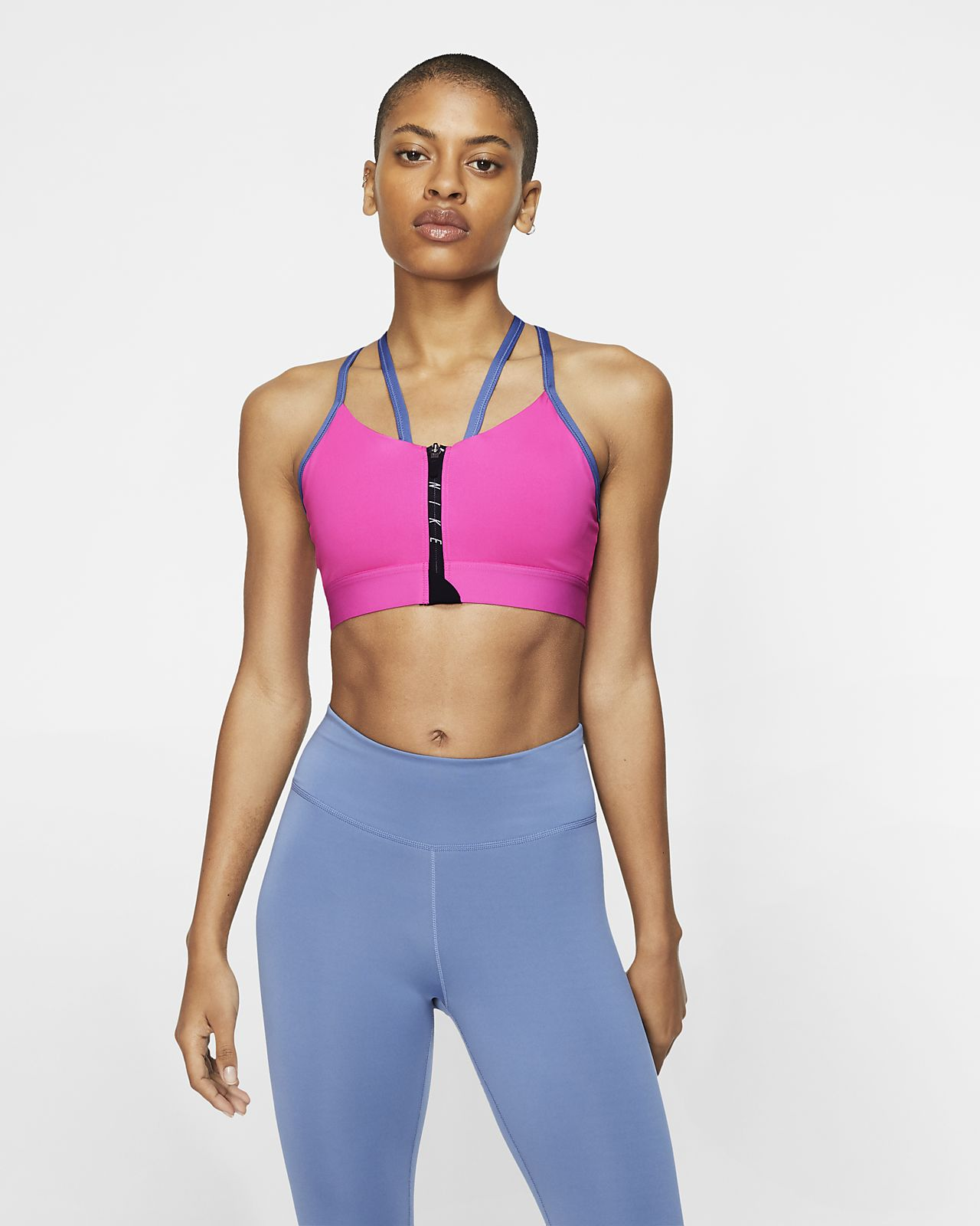 Dámská sportovní podprsenka Nike Indy na zip s lehkou oporou