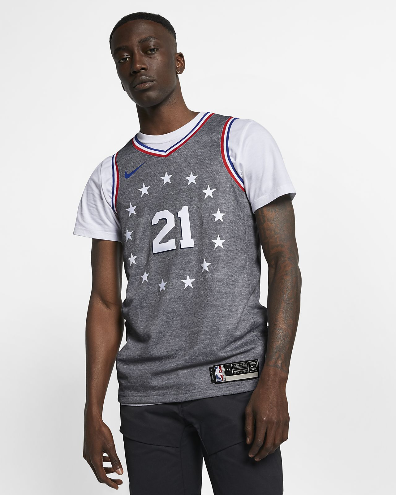 Camiseta conectada Nike NBA para hombre Joel Embiid City Edition Swingman (Philadelphia 76ers)